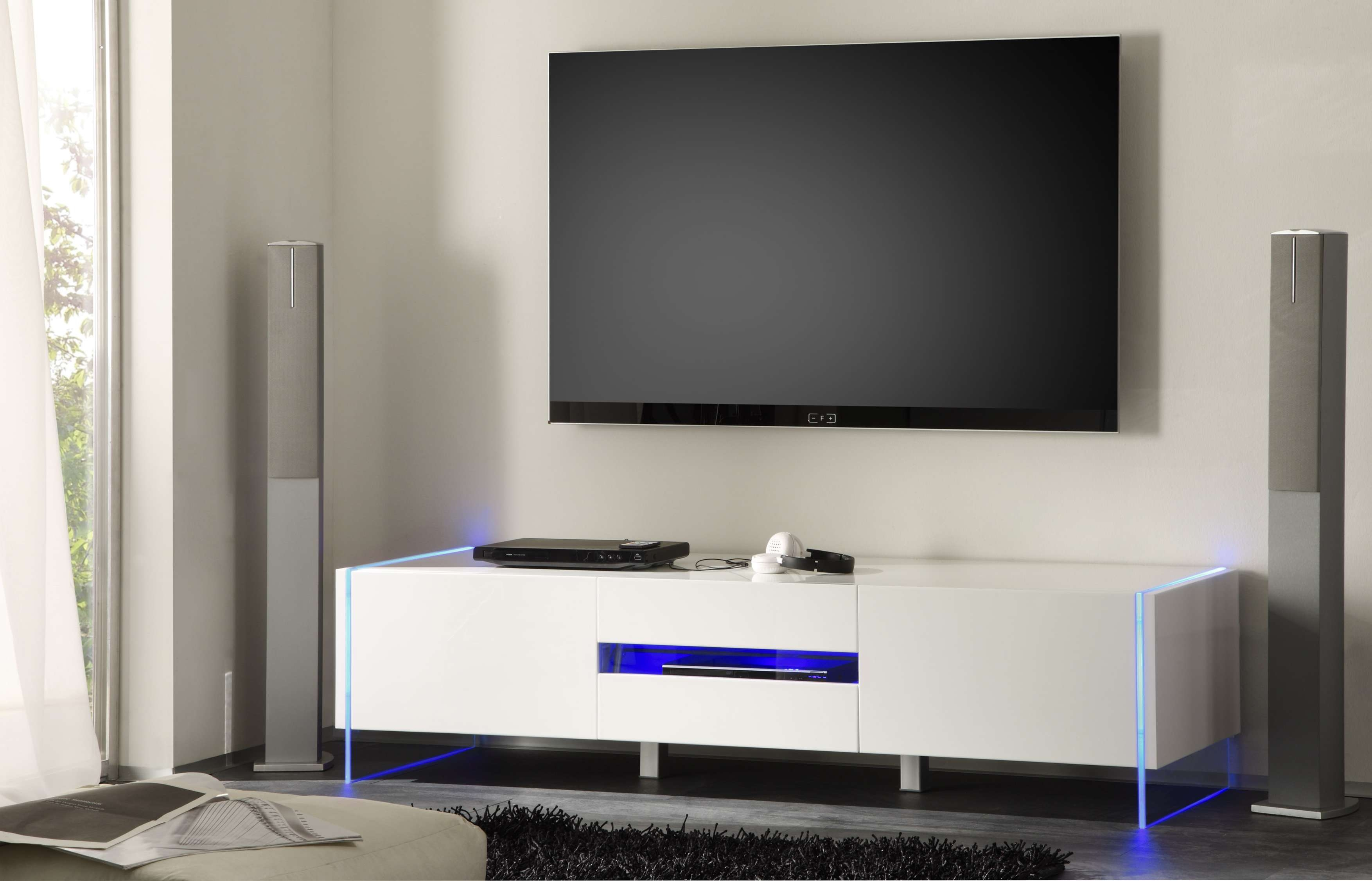 Chic Contemporary White Glossy Tv Stand Base With Led Seattle For White Tv Stands Modern (View 8 of 15)