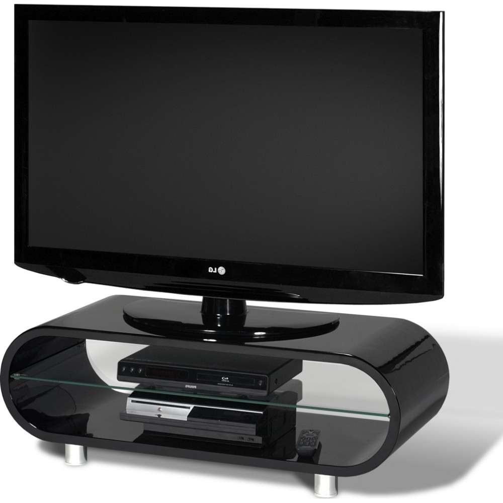 Chrome Plated Feet; Quick To Assemble; Displays Up To 50 Intended For Ovid Tv Stands Black (View 3 of 20)
