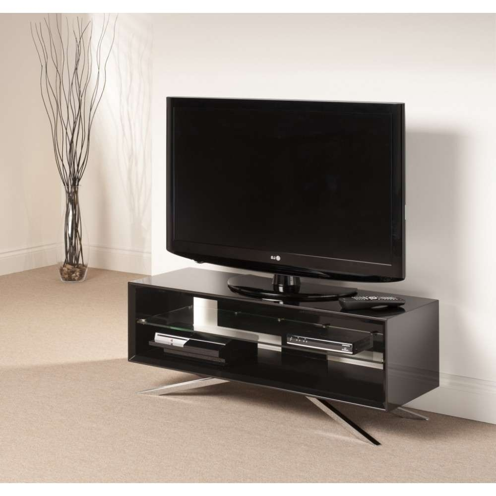 Chrome Plated Pyramidal Base; Cable Management And Power Strip In Techlink Arena Tv Stands (View 5 of 15)
