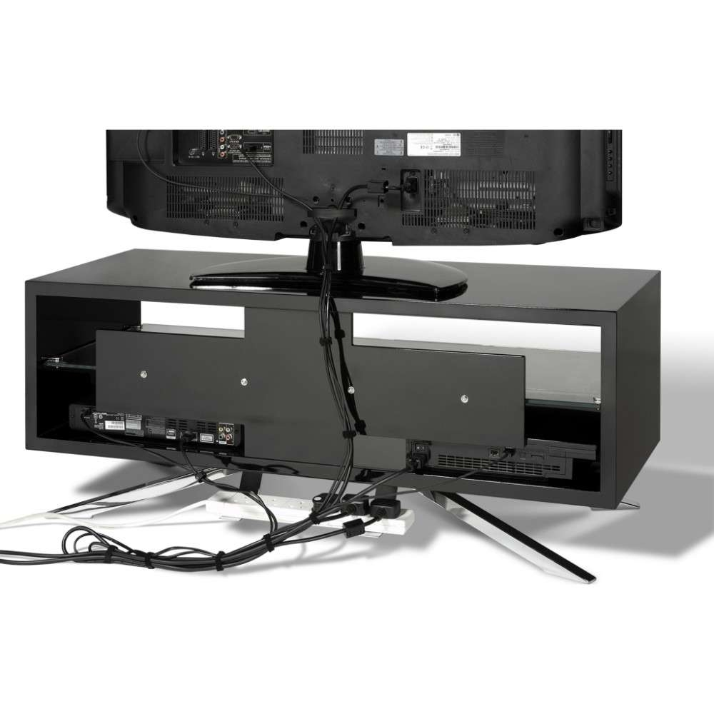 Chrome Plated Pyramidal Base; Cable Management And Power Strip Inside Techlink Arena Tv Stands (View 7 of 15)