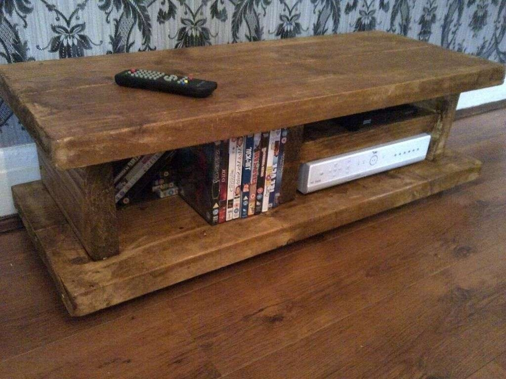 Chunky Rustic Tv Stand Audio Unit/cabinet Solid Wood ~Handmade In Pertaining To Hard Wood Tv Stands (View 3 of 15)