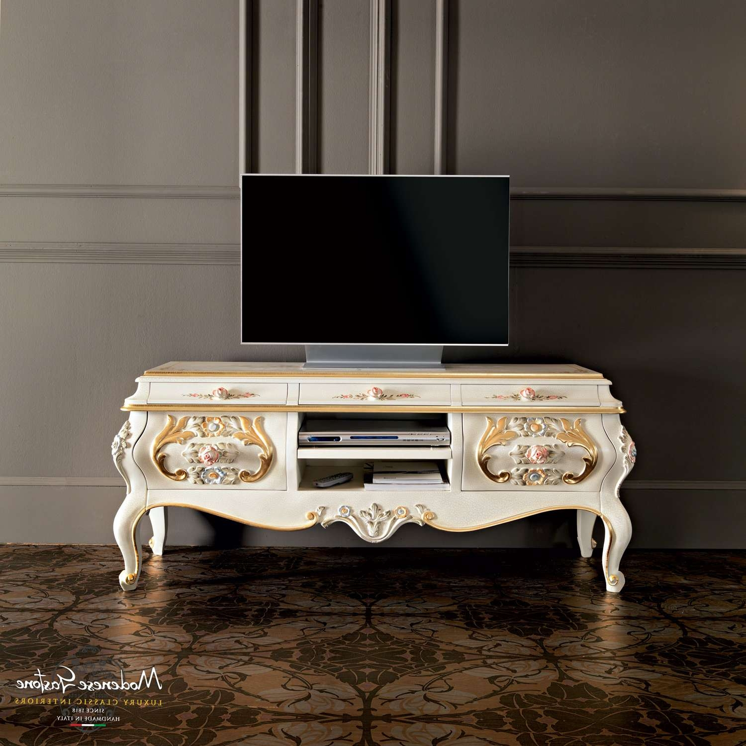 Classic Living Room With Grandfather Clock Painted And Carved In Gold Tv Stands (View 15 of 20)