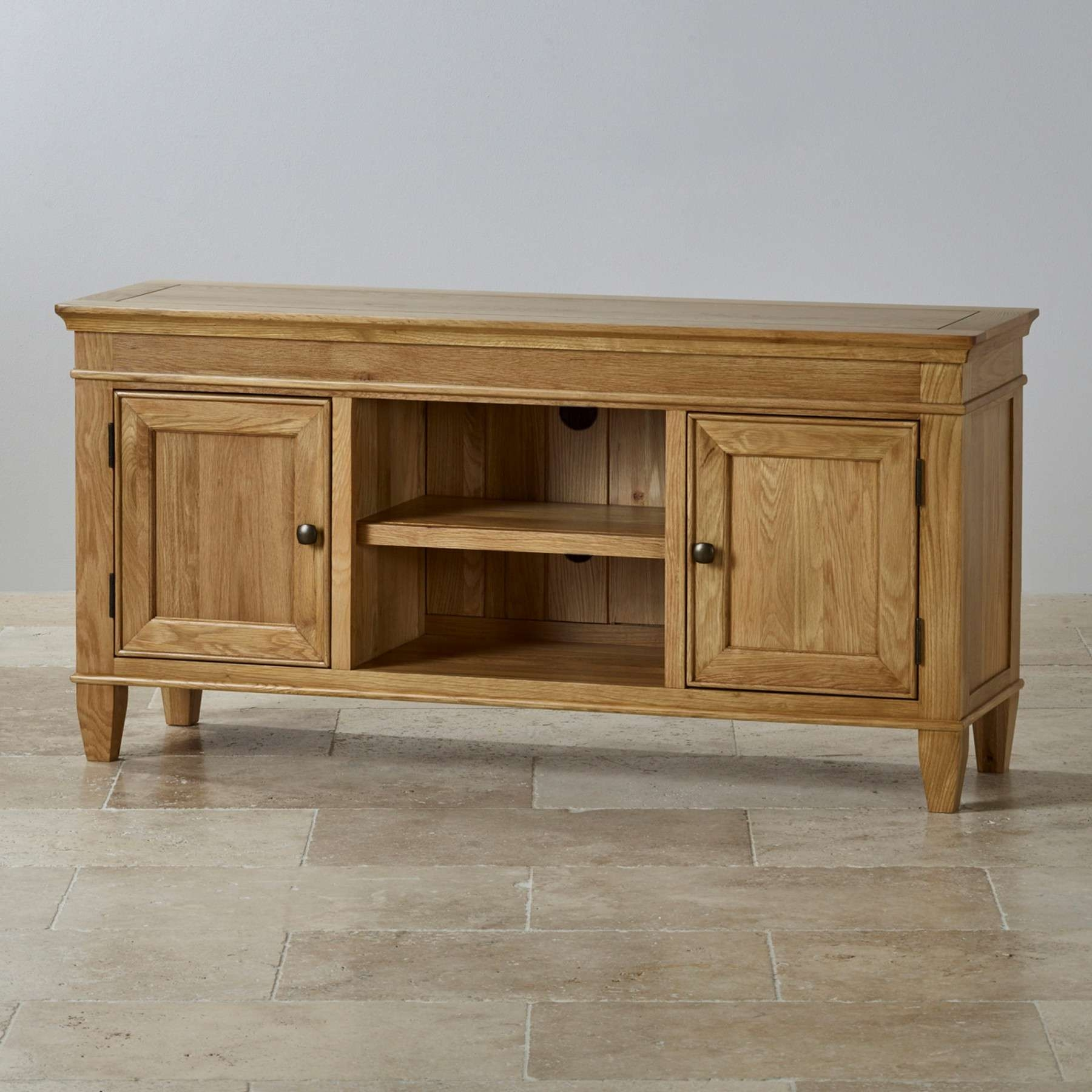 Classic Natural Solid Oak Widescreen Tv Stand Oak Furniture Land Intended For Widescreen Tv Cabinets (View 5 of 20)