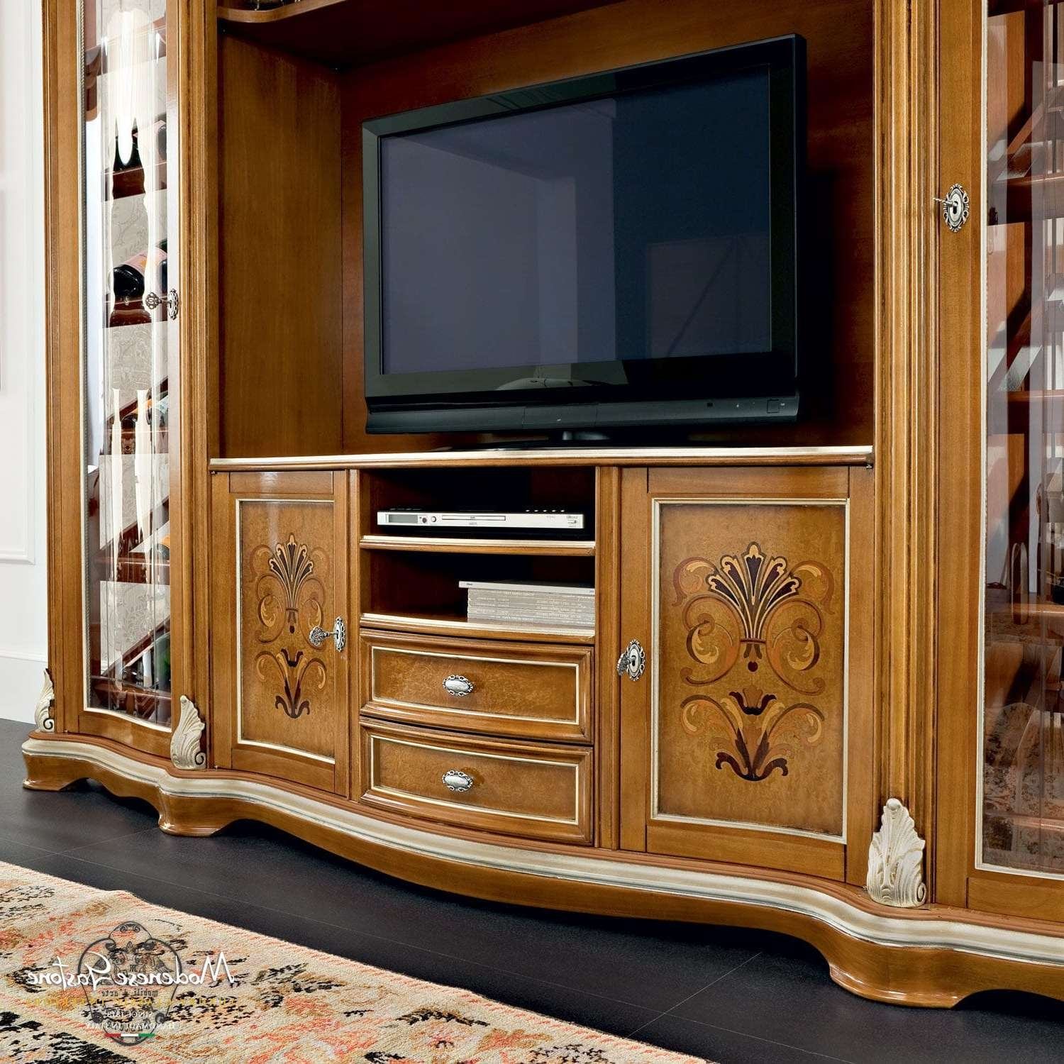 Classic Tv Cabinet / Solid Wood – Bella Vita – Modenese Gastone Within Wooden Tv Cabinets (View 13 of 20)