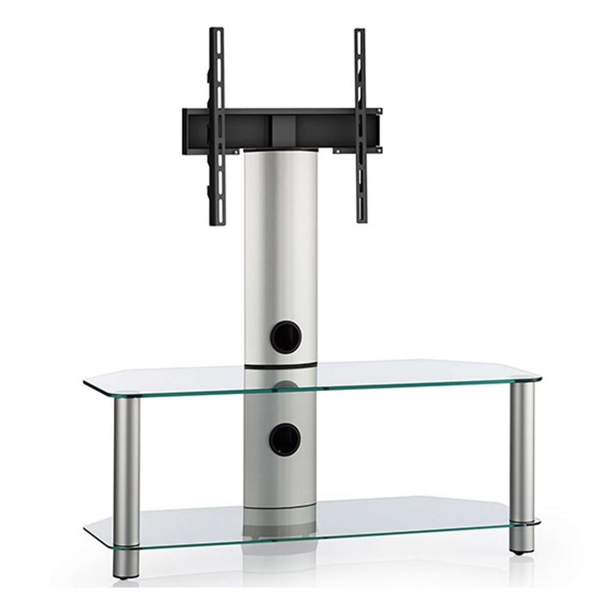 Clear Glass 2 Shelf Tv Corner Stand With Bracket Within Corner Tv Stands With Bracket (View 7 of 20)