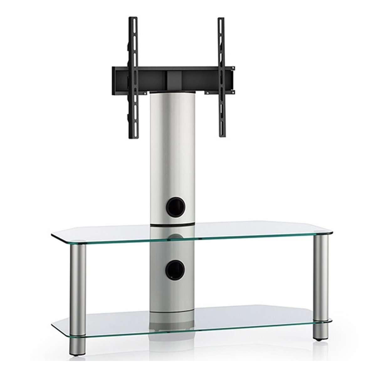 Clear Glass 2 Shelf Tv Corner Stand With Bracket Within Corner Tv Stands With Bracket (View 7 of 20)