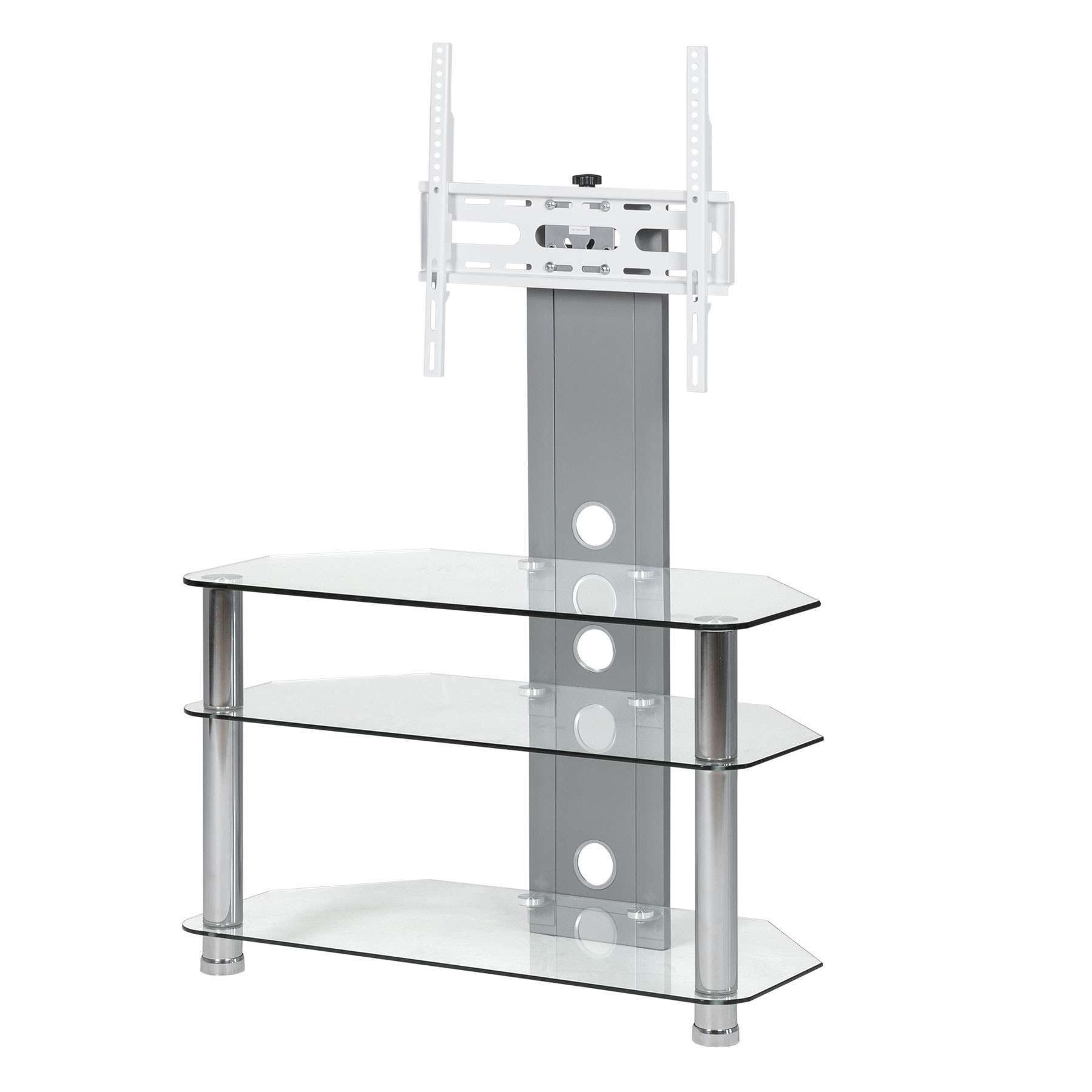 Clear Glass Cantilever Stand For Up To 50 Inch Tv | Mmt Throughout White Cantilever Tv Stands (View 6 of 20)