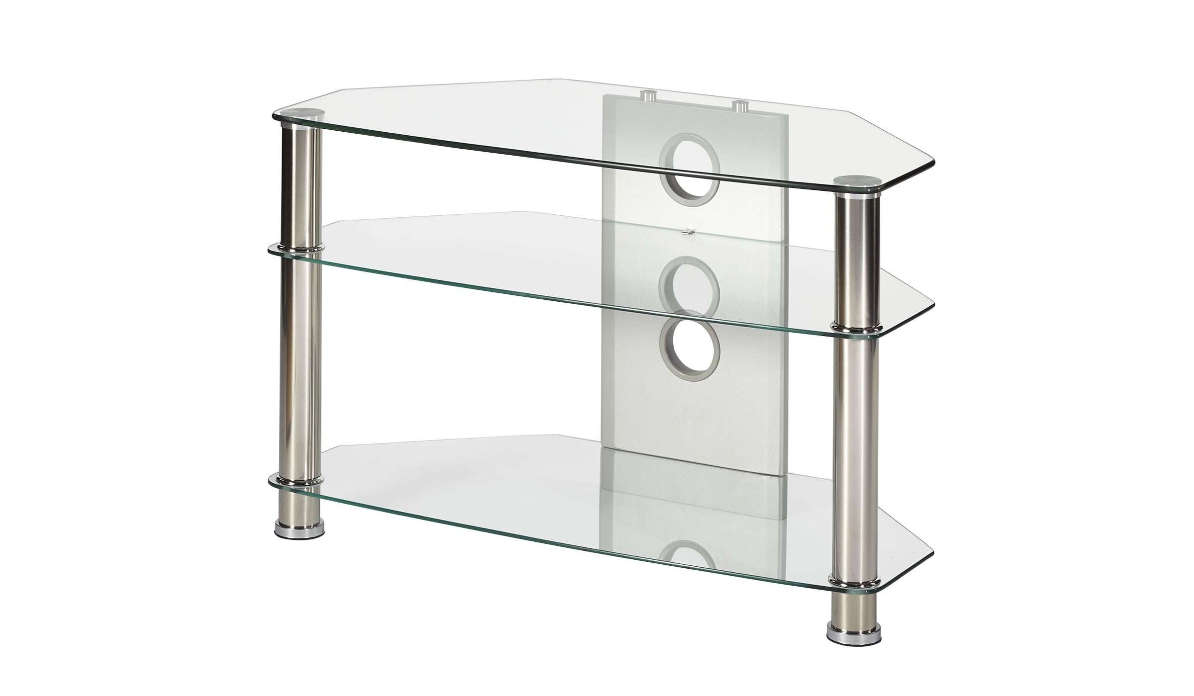 Clear Glass Corner Tv Stand Up To 32 Inch Tv | Mmt Cl800 Regarding Glass Tv Stands (View 4 of 15)