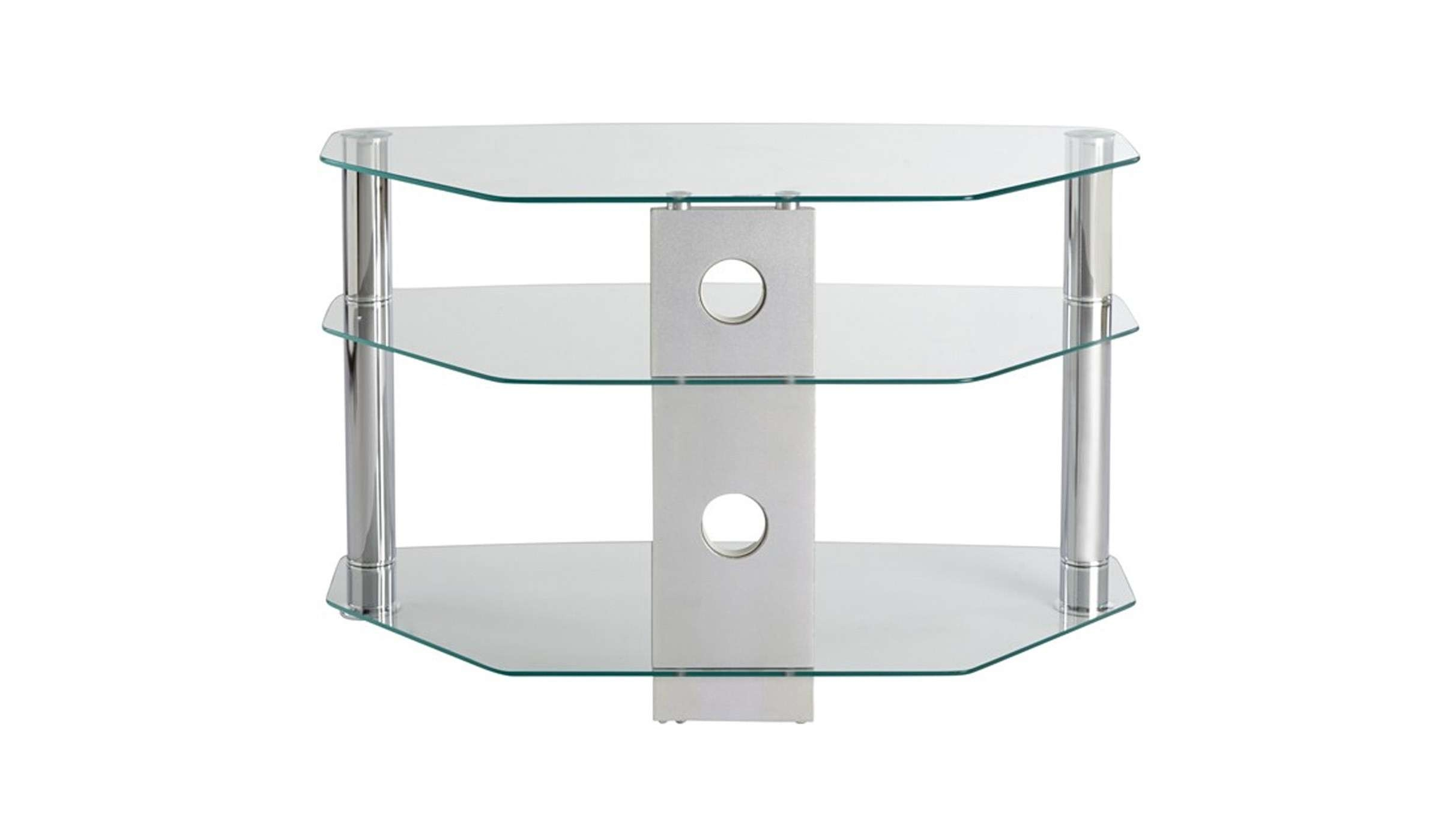 Clear Glass Corner Tv Stand Up To 32 Inch Tv | Mmt Cl800 With Regard To Clear Glass Tv Stands (View 2 of 15)