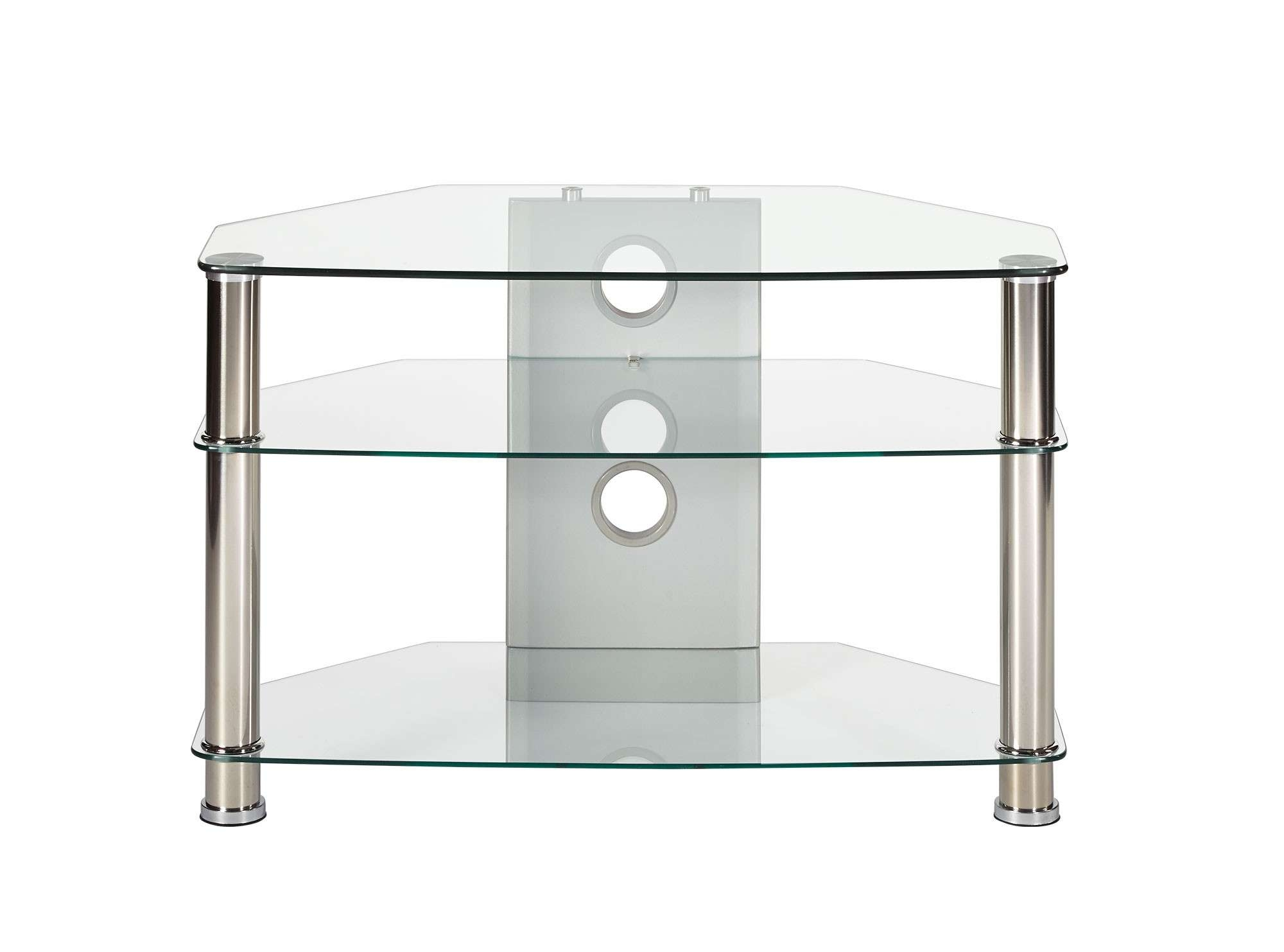 Compact Clear Glass Corner Tv Stand Up To 37 Inch Tv | Mmt Cl800 Throughout Clear Glass Tv Stands (View 10 of 15)