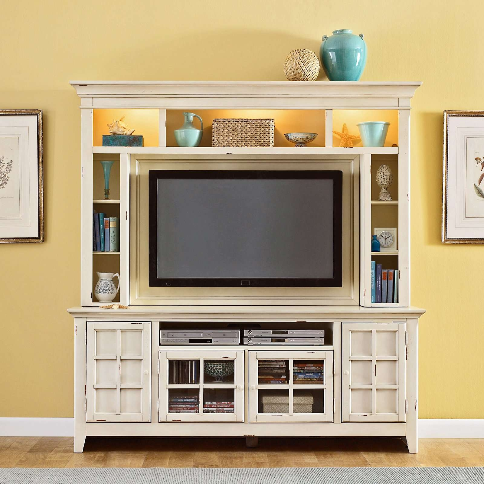 Compact White Painted Oak Wood Media Cabinet With Lighted Shelves Pertaining To Oak Tv Stands With Glass Doors (View 4 of 15)