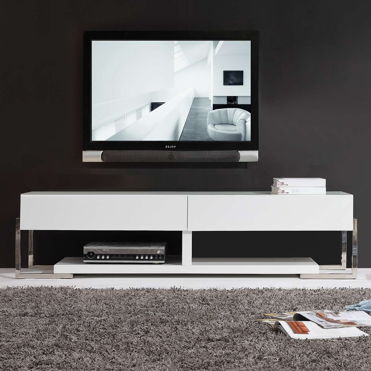 Congenial Brown Wood Together With Floating Tv Stand Living Room In Modern White Lacquer Tv Stands (View 3 of 15)