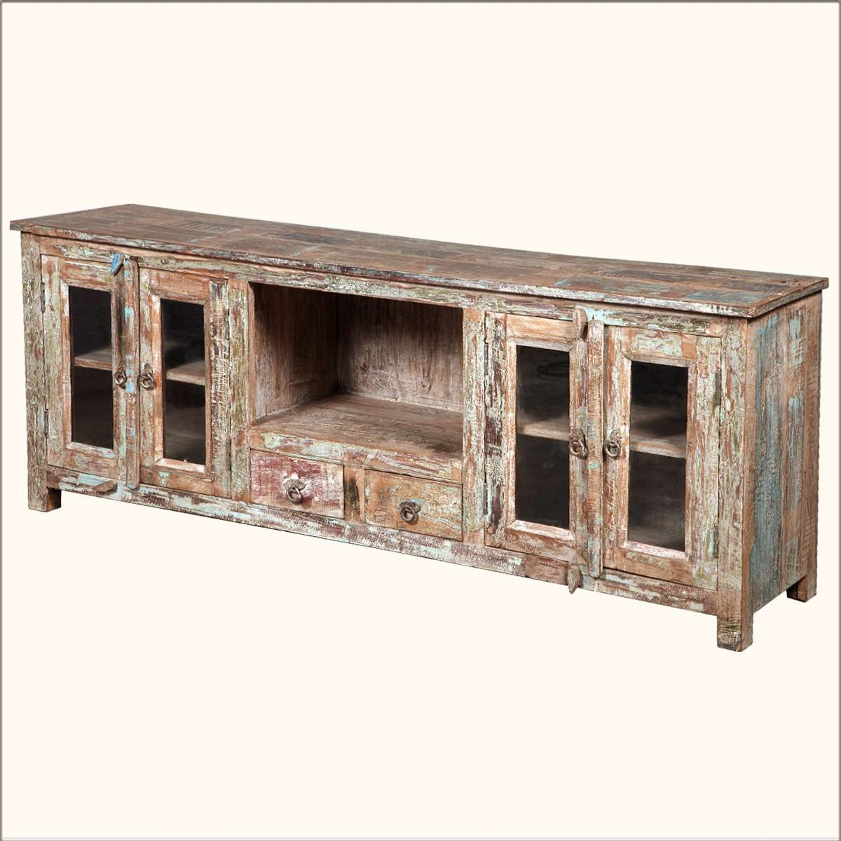 Console Tables : Long Low Profile Media Console Table With Large Pertaining To White Rustic Tv Stands (View 14 of 15)