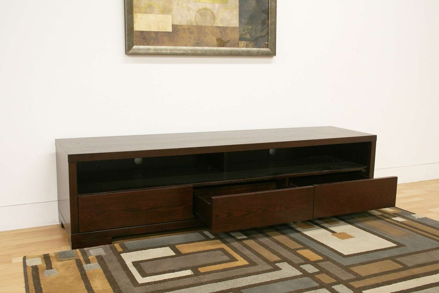 Console Tables : Simple Old Low Profile Media Console With Drawer Pertaining To Modern Low Profile Tv Stands (View 4 of 15)