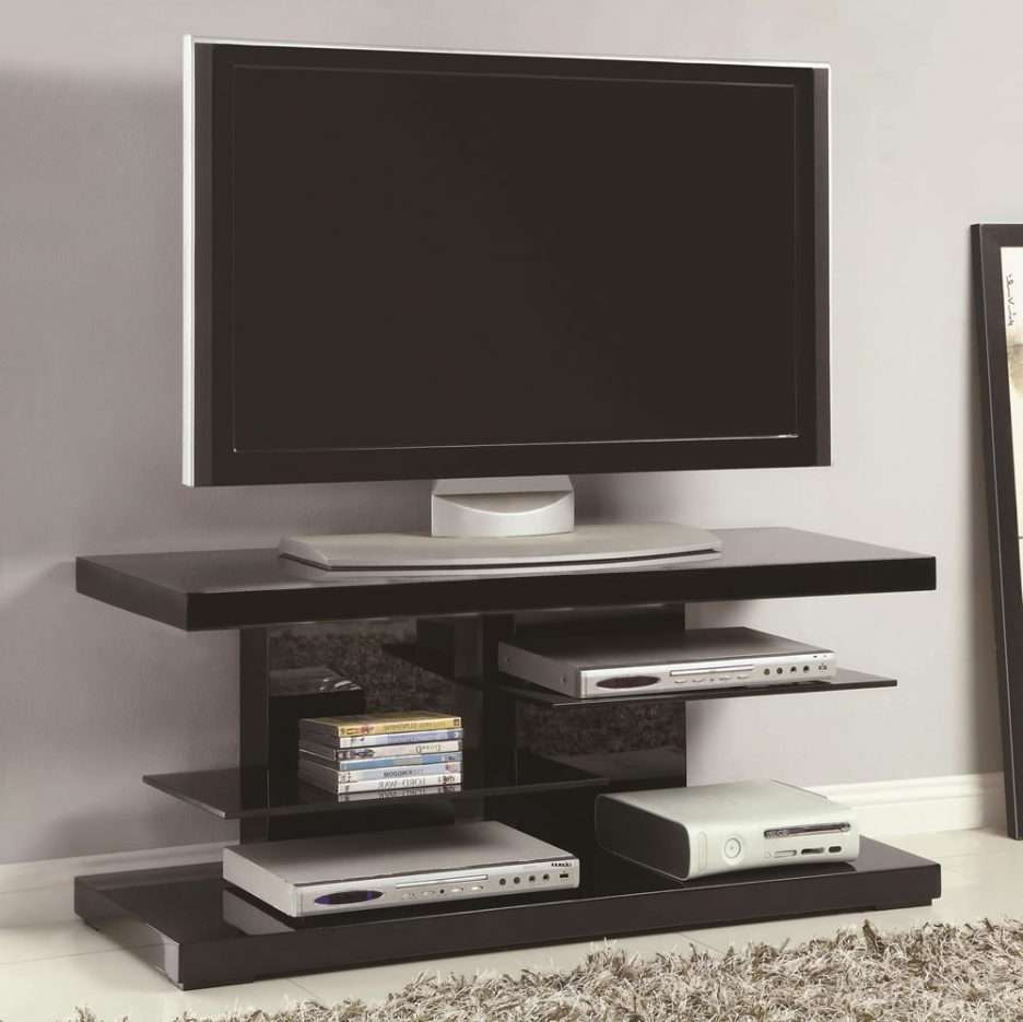 Console Tables : Small Modern Tv Stand With Open Glass Shelves In In Modern Tv Stands For Flat Screens (View 5 of 15)