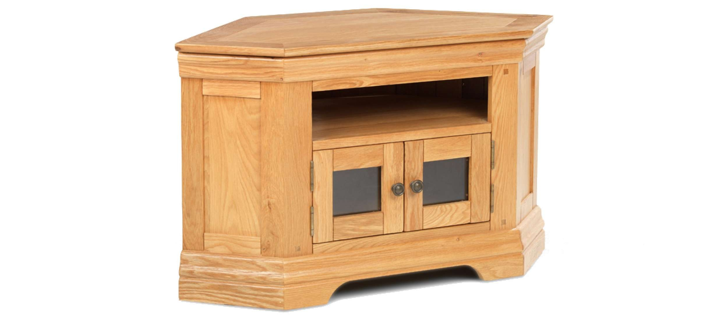 Constance Oak Corner Tv Cabinet | Quercus Living For Small Oak Corner Tv Stands (View 4 of 15)