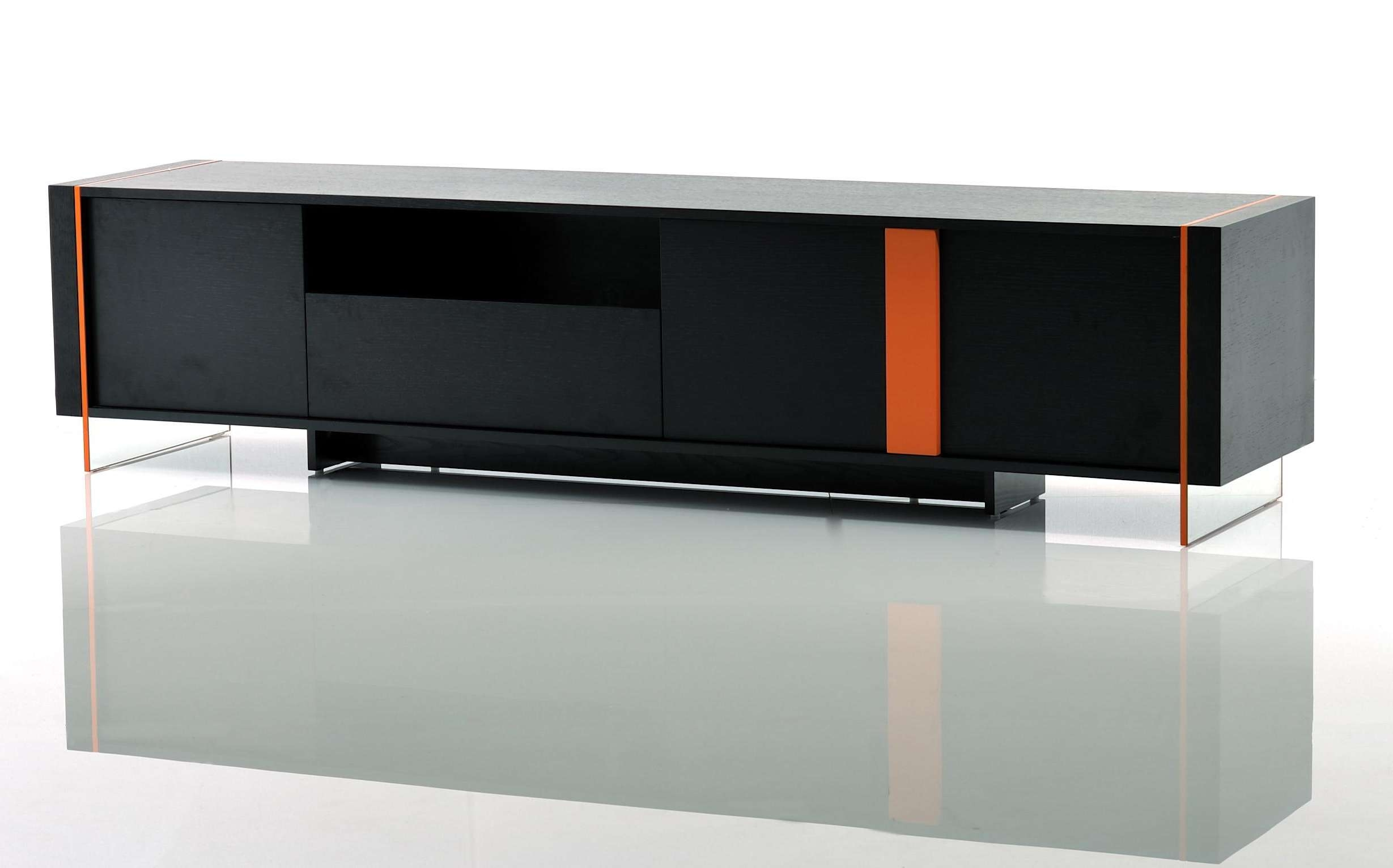 Contemporary Black Oak And Orange Floating Tv Stand Austin Texas Vvis With Contemporary Black Tv Stands (View 4 of 15)