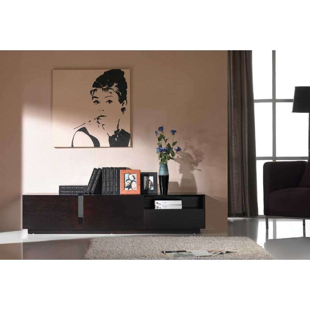 Contemporary Dark Oak Tv Stand, J&m Furniture – Modern Manhattan With Regard To Dark Wood Tv Stands (View 3 of 20)