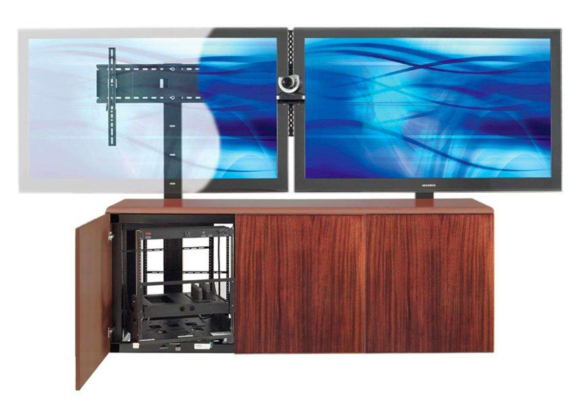 Contemporary Dual Mount Tv Stand W/ Mahogany Veneer Storage Area With Dual Tv Stands (View 7 of 15)
