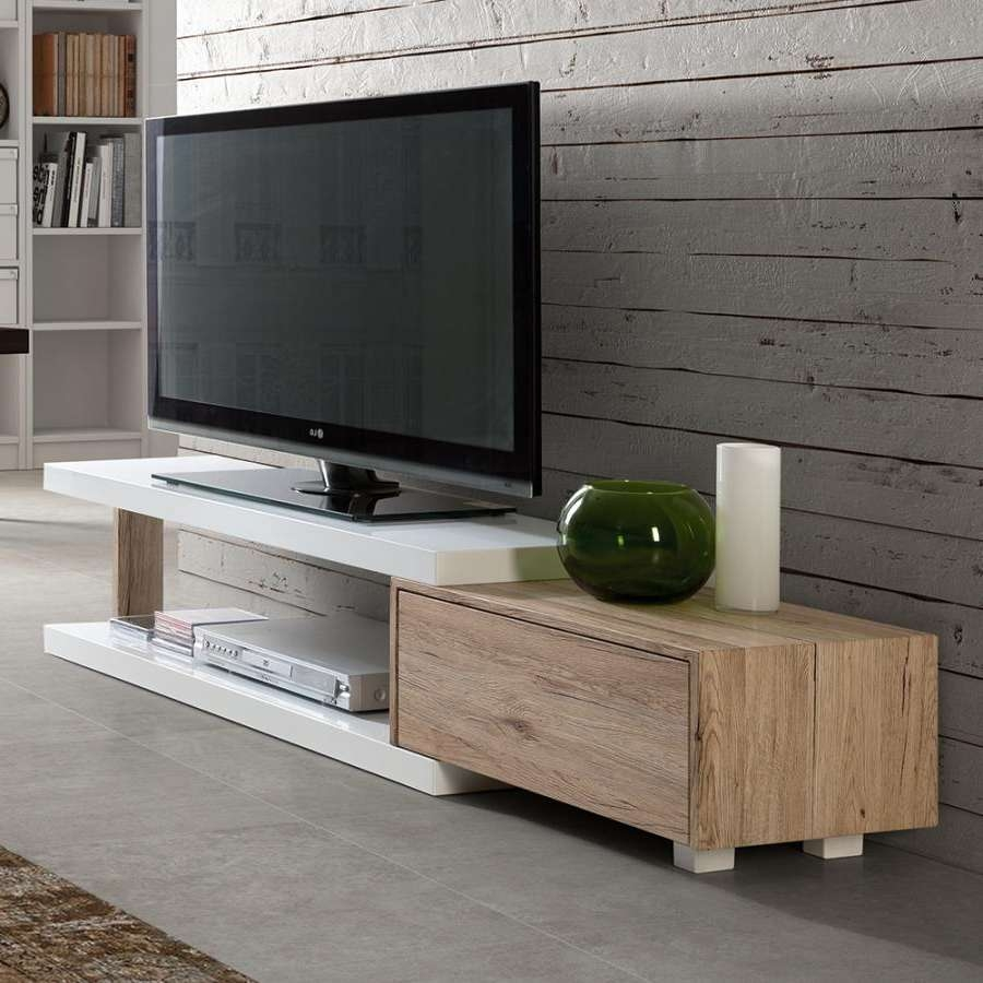 Contemporary Hugo Tv Cabinet In High Gloss White And Oak Inside Contemporary Oak Tv Cabinets (View 6 of 20)
