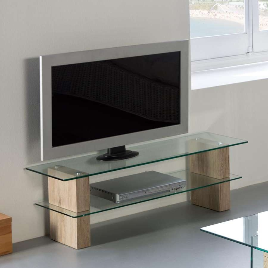 Contemporary Modern Glass Nadine Tv Stand With Oak Effect Legs Within Modern Glass Tv Stands (View 5 of 15)