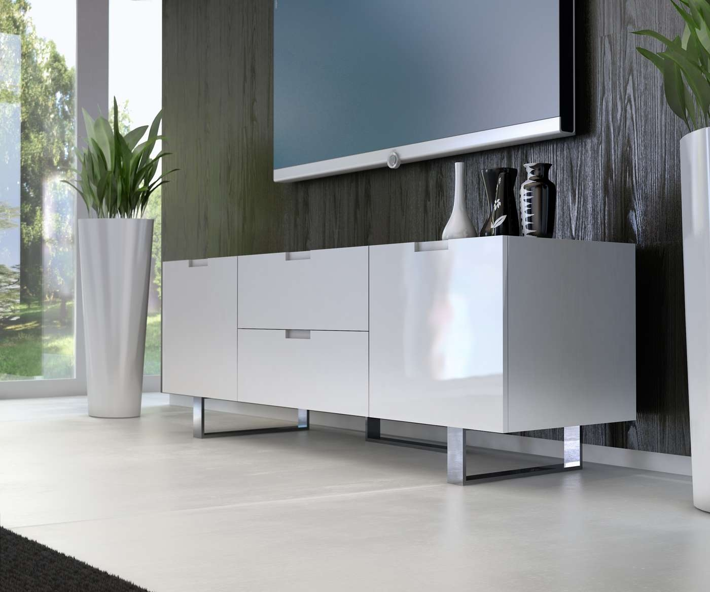 Contemporary Tv Stand In Wenge Walnut Or White Lacquer San Diego Throughout White Contemporary Tv Stands (View 3 of 15)