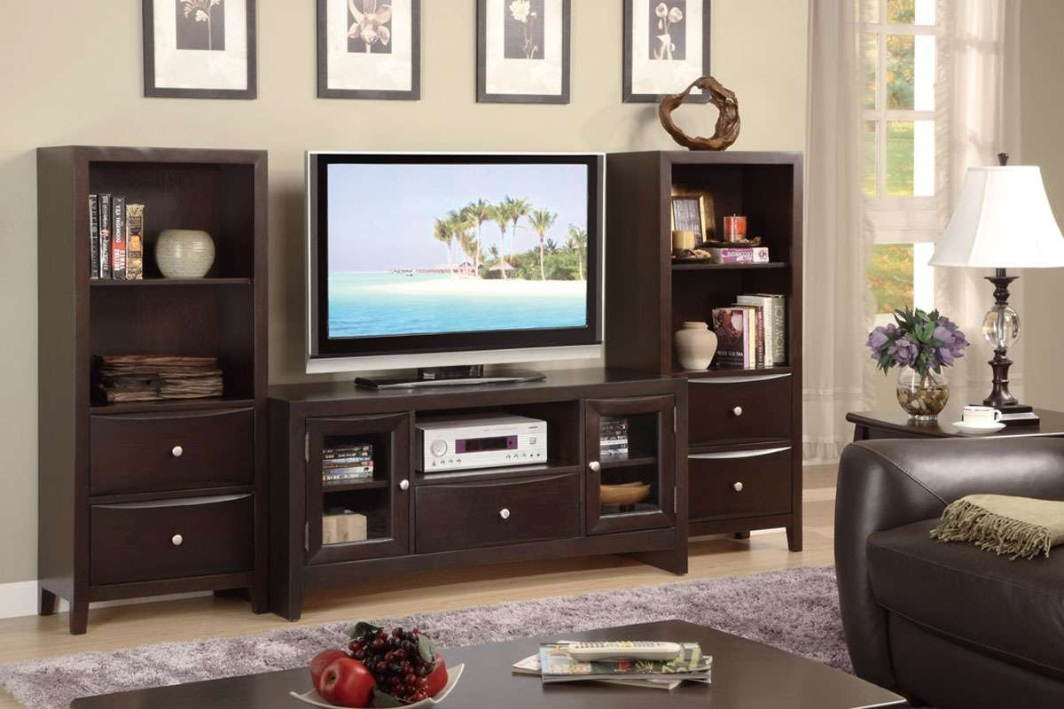 Contemporary Tv Stand With Glass Panel Side Storage – Huntington Regarding Storage Tv Stands (View 2 of 15)