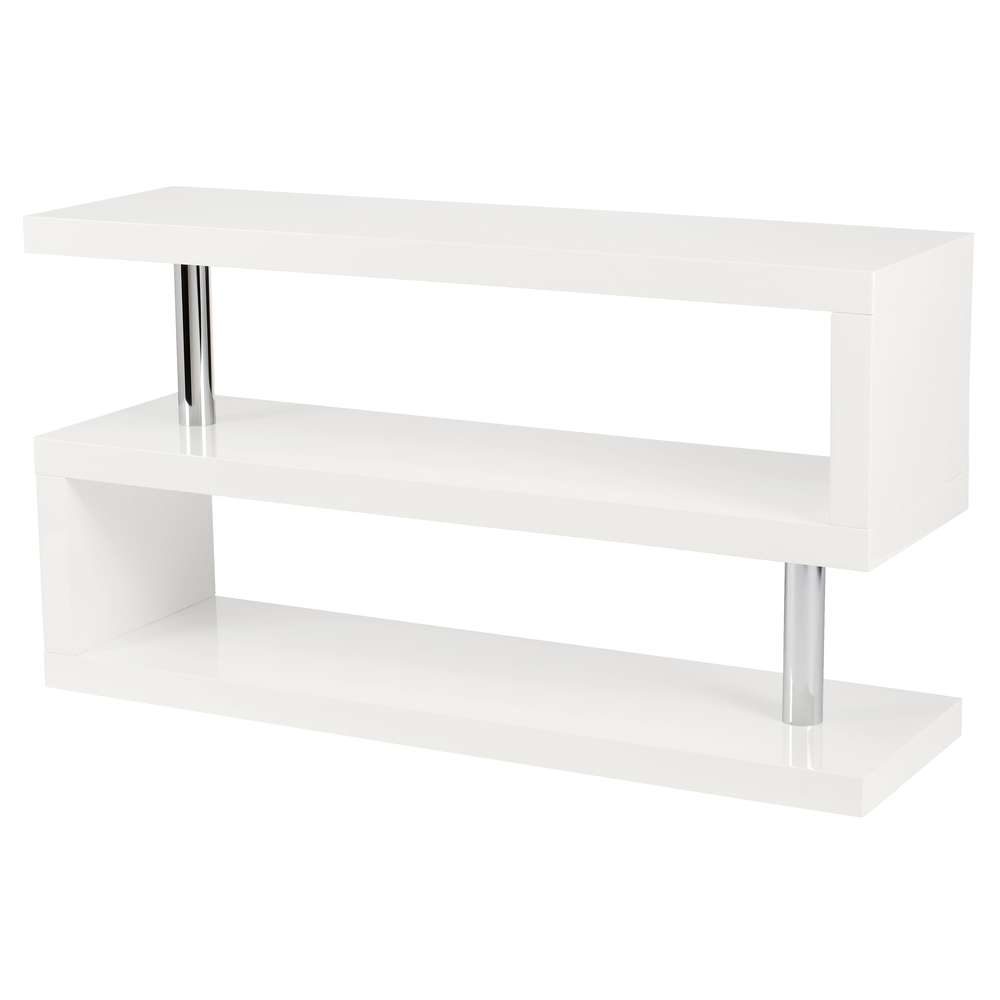 Contour Tv Unit With Shelving White – Dwell With White Gloss Corner Tv Stands (View 3 of 15)