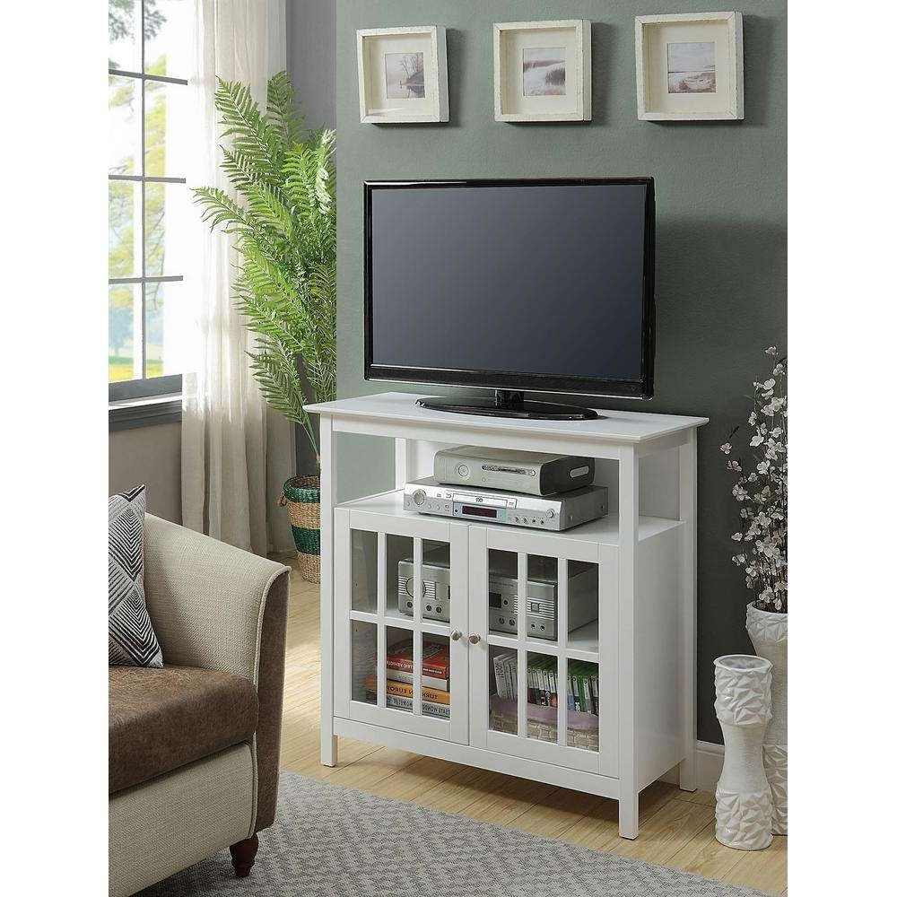Convenience Concepts Big Sur White Highboy Tv Stand 8066070w – The In Highboy Tv Stands (View 15 of 15)