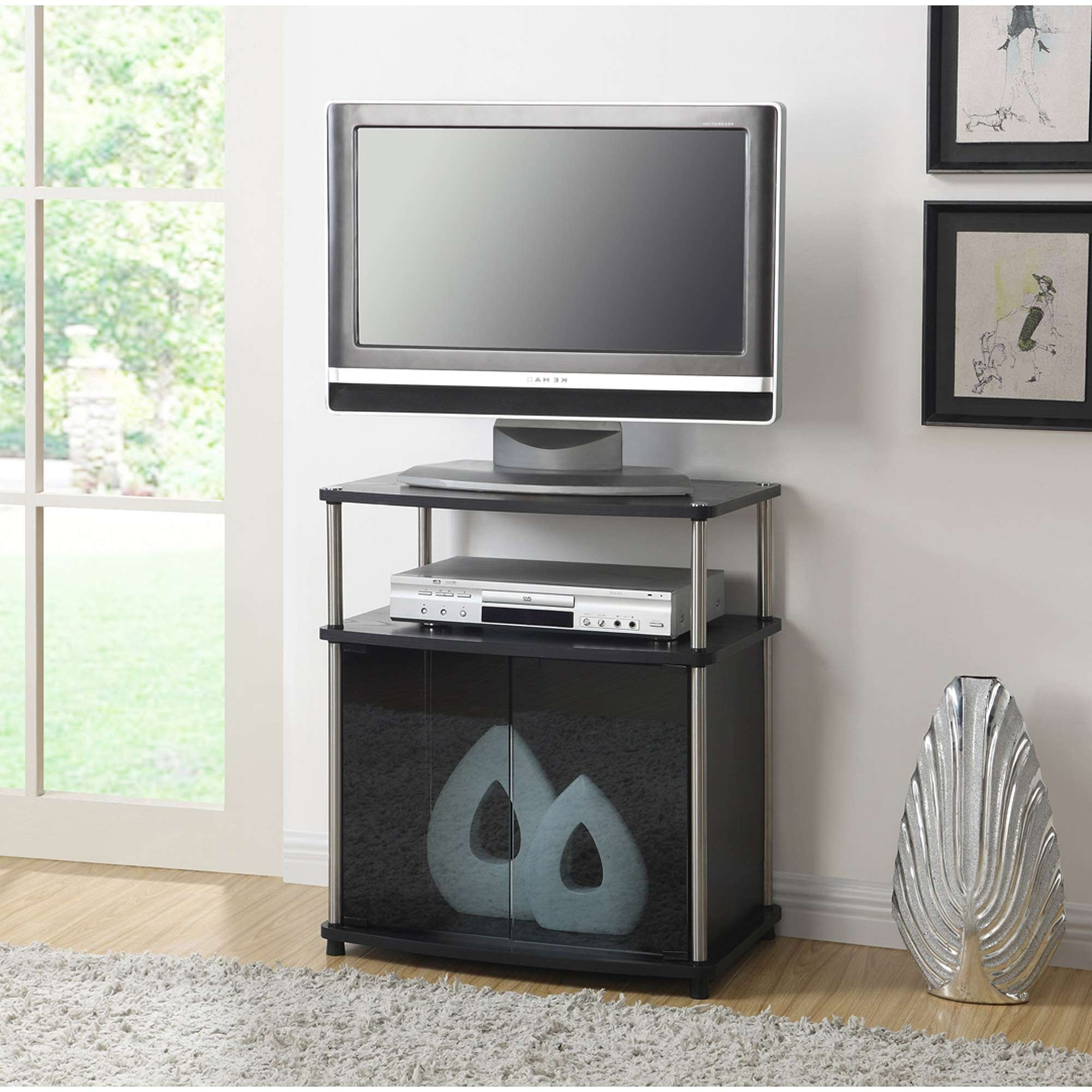 Convenience Concepts Designs2Go No Tools Tv Stand With Black Glass Within Tv Stands For Tube Tvs (View 1 of 15)