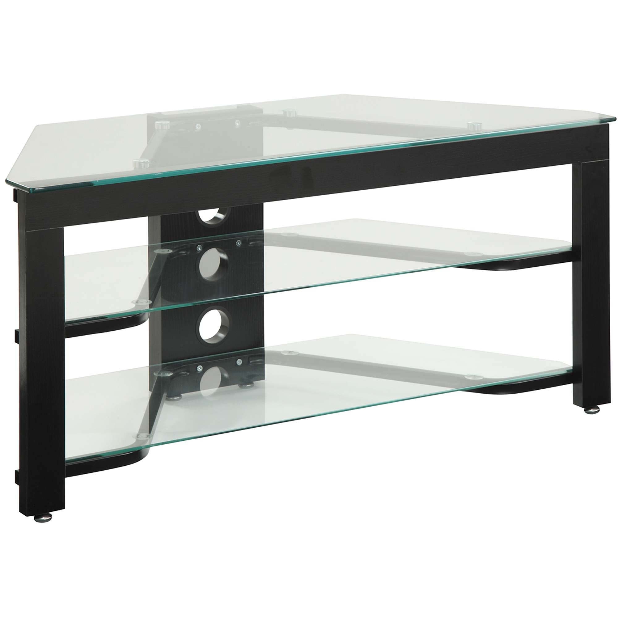 Convenience Concepts Designs2go Wood And Glass Tv Stand For Tvs Up Throughout Wood Tv Stands With Glass (View 9 of 15)