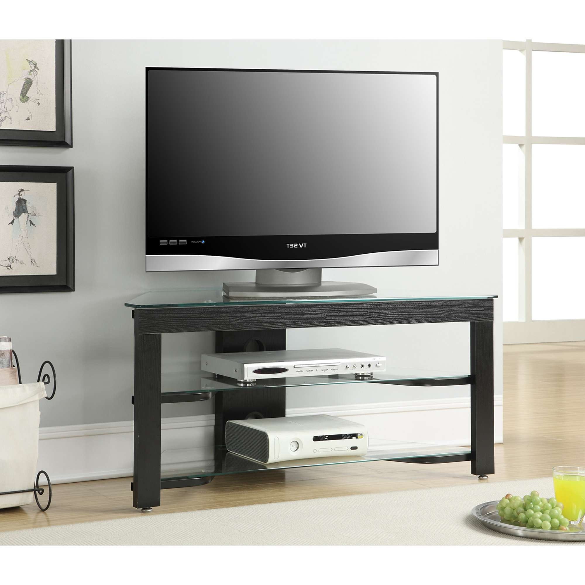 Convenience Concepts Designs2Go Wood And Glass Tv Stand For Tvs Up With Regard To Wood Tv Stands With Glass (View 7 of 15)