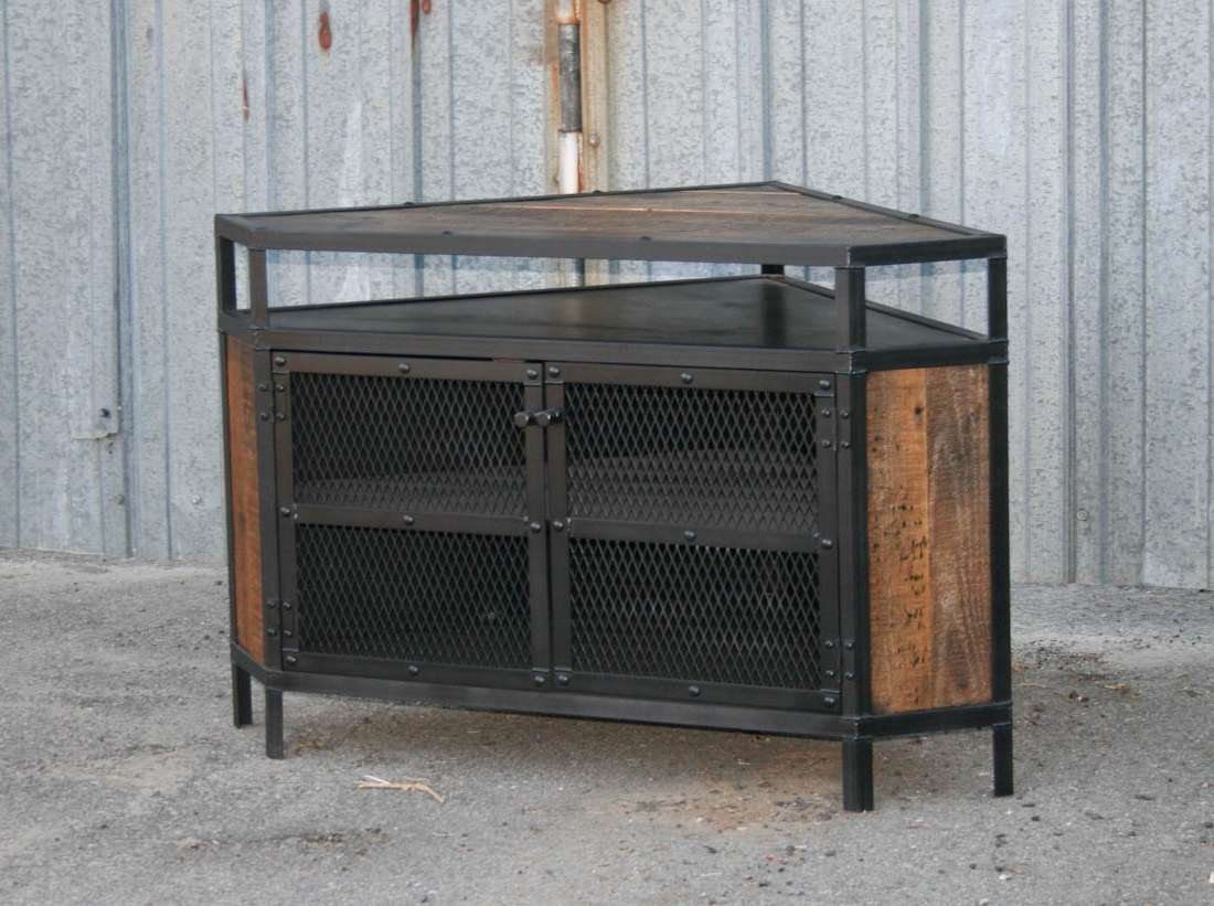 Cool Diy Industrial Corner Tv Stands Made From Wood And Metal With In Metal And Wood Tv Stands (View 7 of 15)