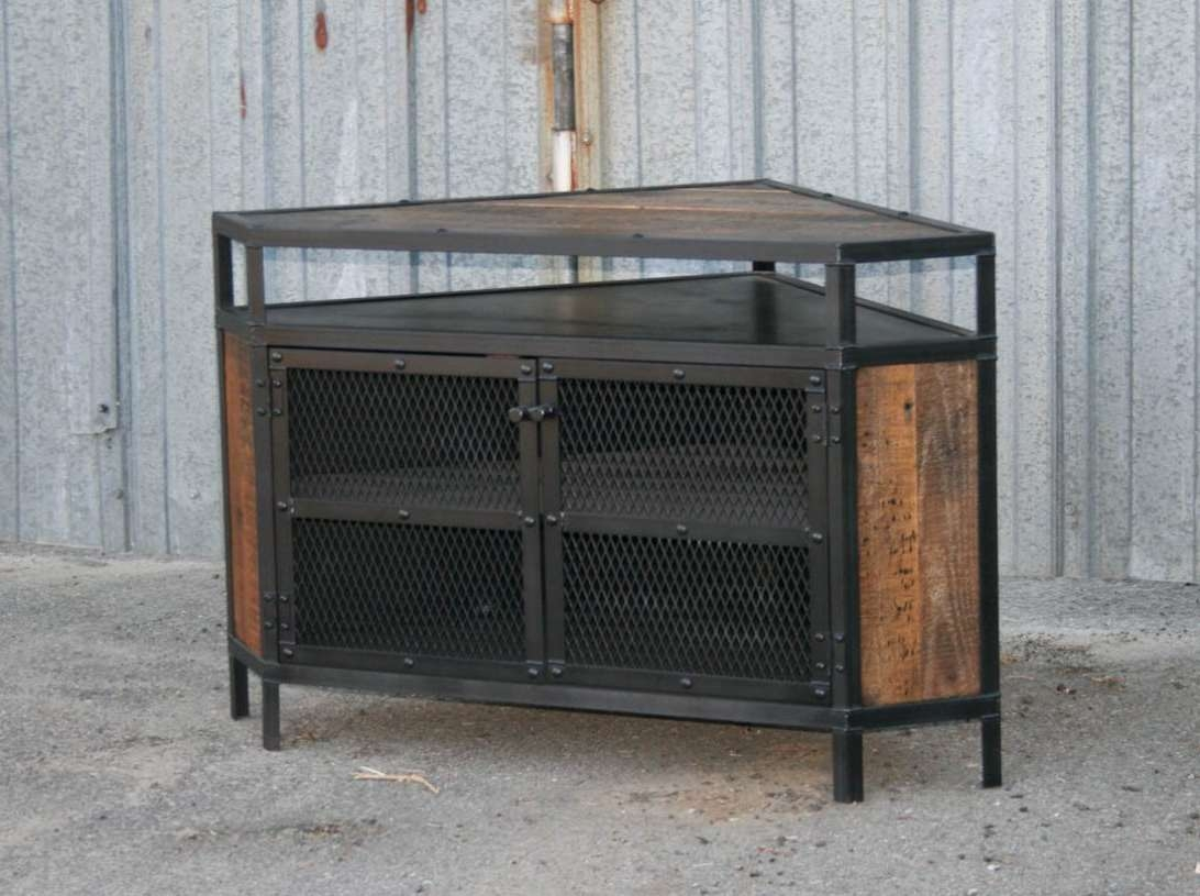 Cool Diy Industrial Corner Tv Stands Made From Wood And Metal With With Regard To Industrial Corner Tv Stands (View 6 of 15)