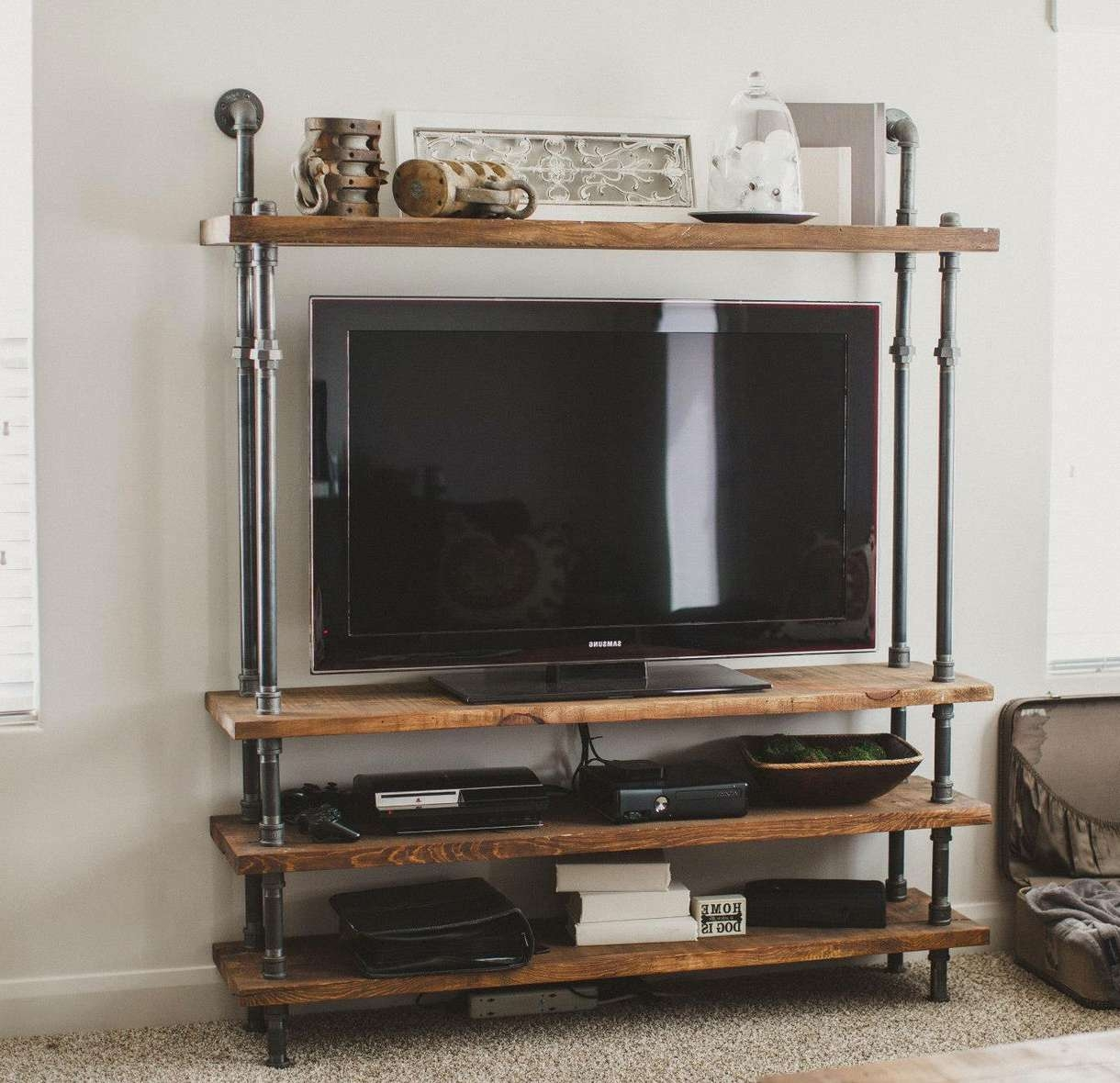 Cool Diy Industrial Pipe And Wood Combo Tv Stand With Shelves Of Within Unique Tv Stands (View 5 of 20)