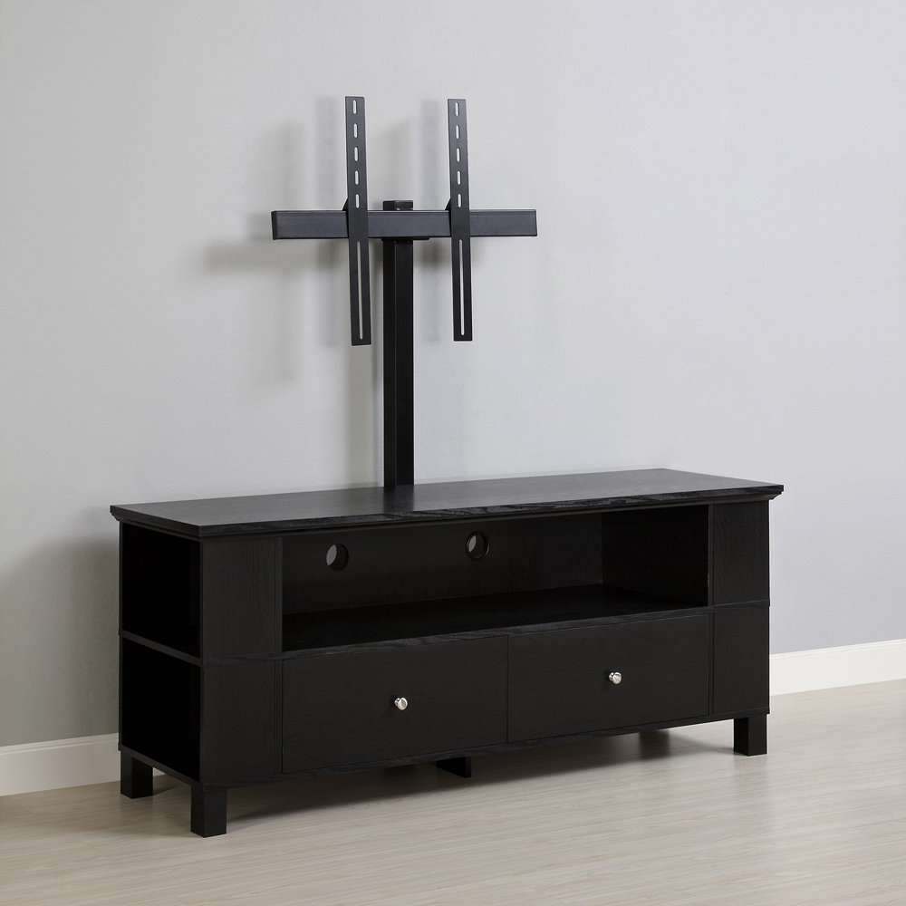 Cool Flat Screen Tv Stands With Mount Homesfeed Furnitures Black In Tv Stands With Mount (View 14 of 15)