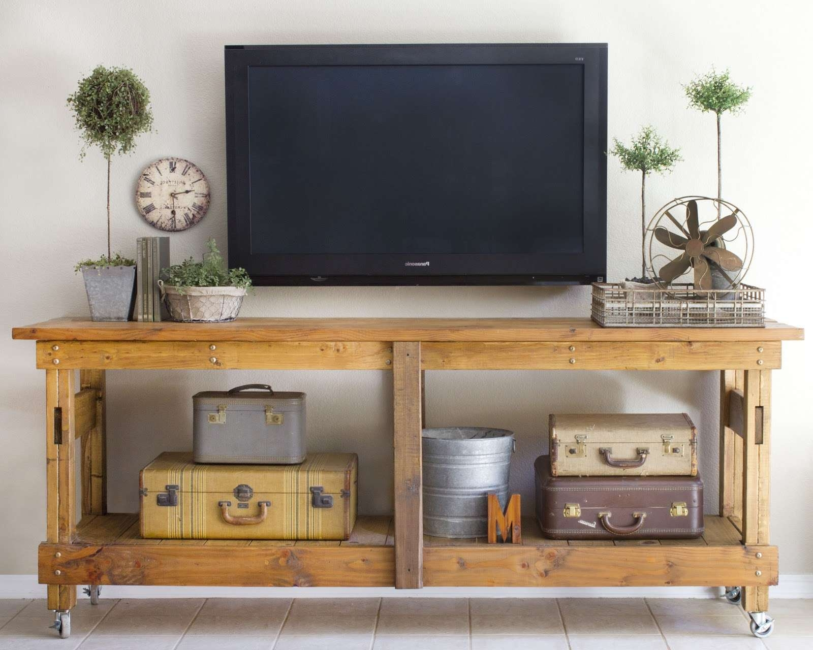 Cool Homemade Industrial Tv Stands With Vintage Suitcase Storage Inside  Wooden Tv Stands With Wheels (