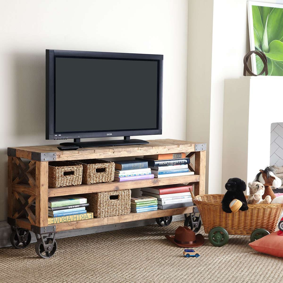 Featured Photo of Wooden Tv Stands With Wheels