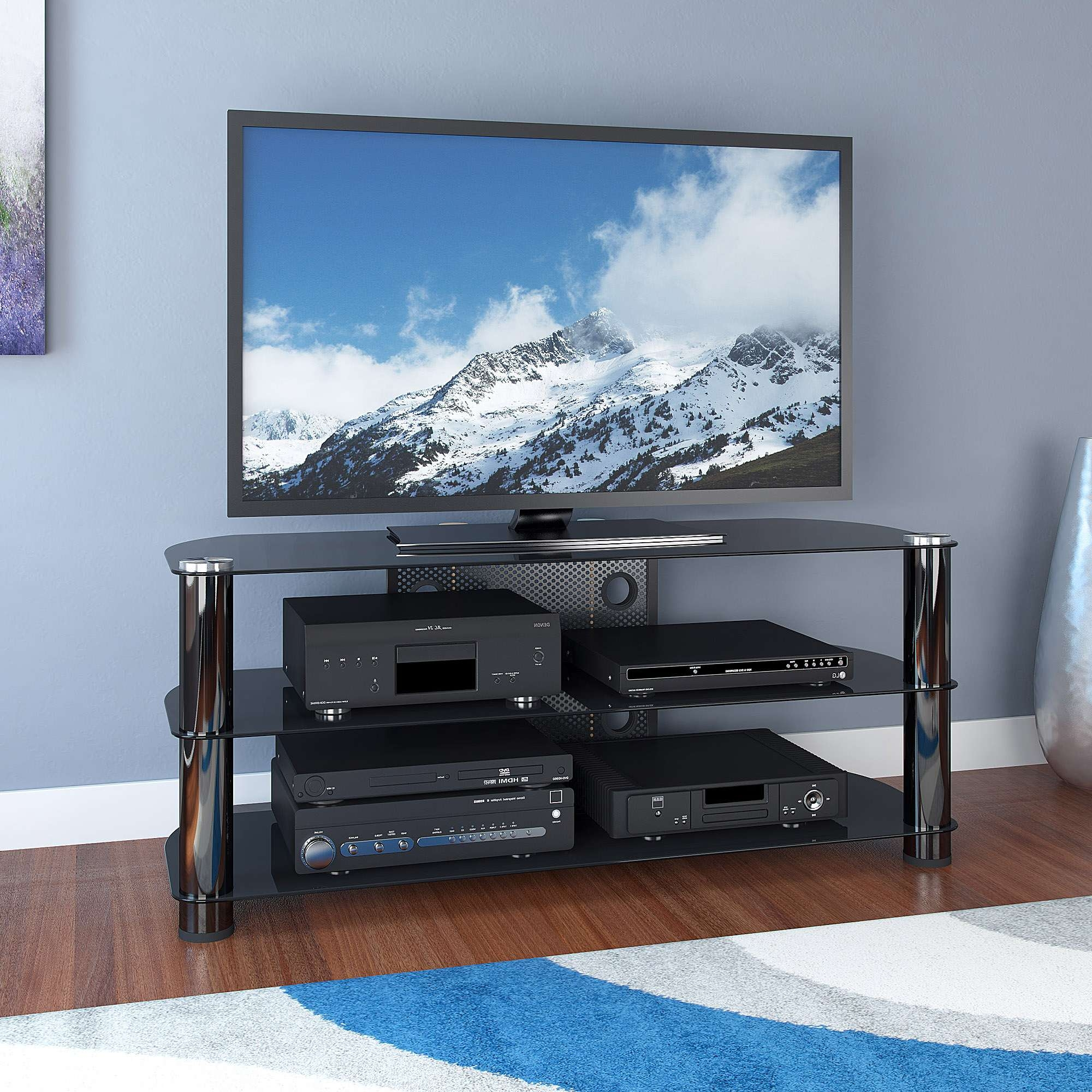 Cool Tv Stands For Inch Flat Screen Tonight With Black Glass Shelf Within Cool Tv Stands (View 9 of 15)