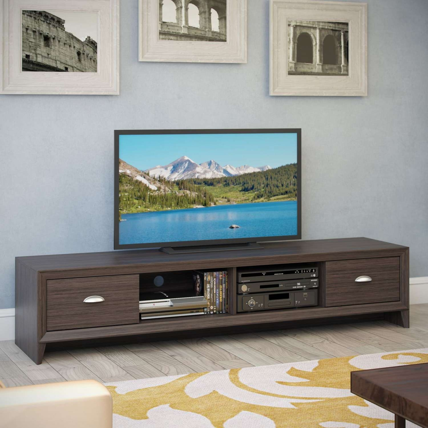 Corliving Tlk 872 B Lakewood Extra Wide Tv Bench In Modern Wenge Regarding Extra Long Tv Stands (View 3 of 15)