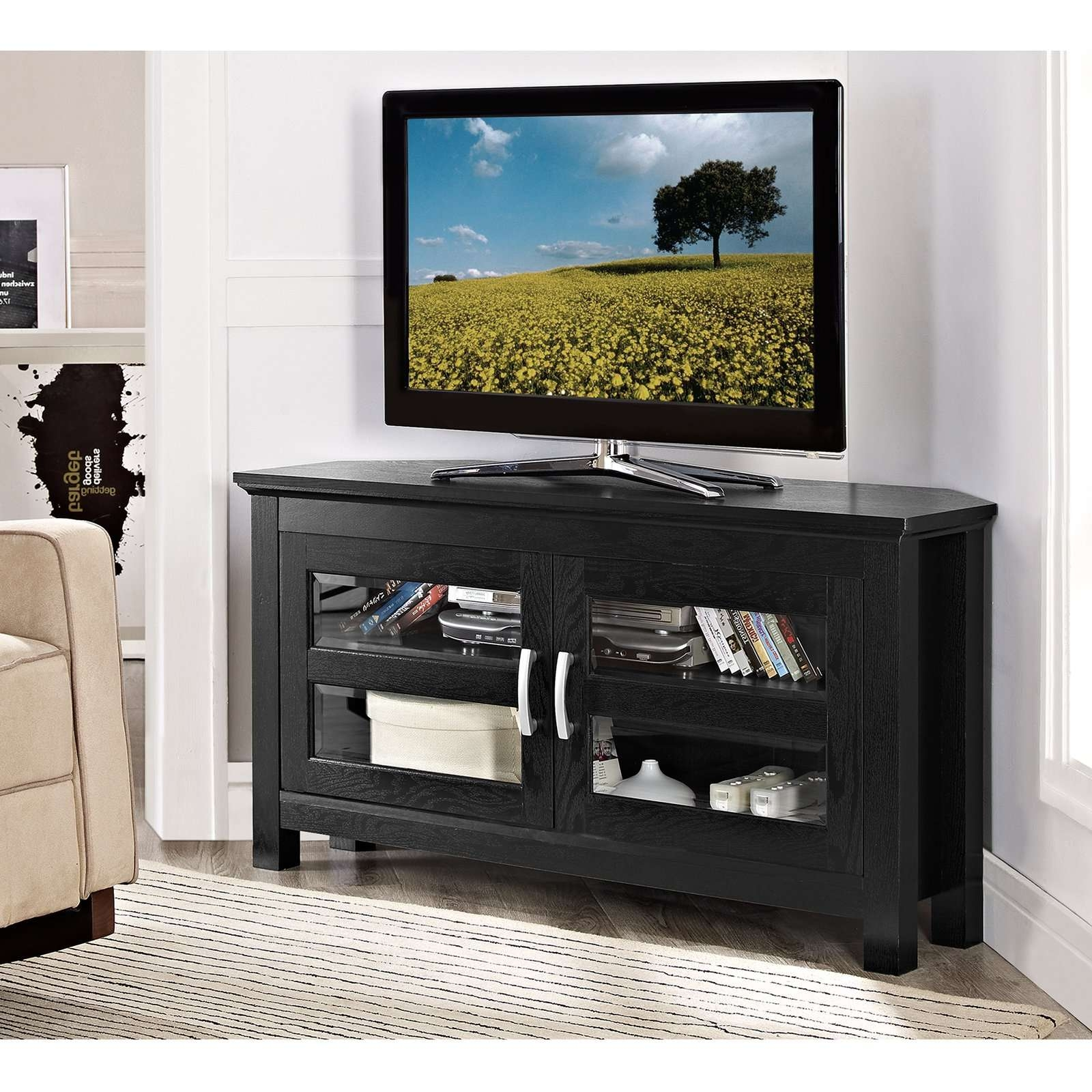 Corner Black Wooden Tv Stand With Storage And Double Glass Doors Pertaining To Double Tv Stands (View 12 of 15)