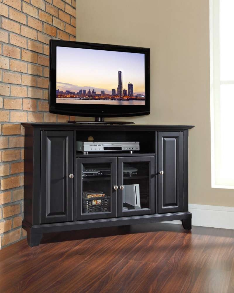 Corner Cabinets Living Room Inspirations Including Unique Tv For Black Wood Corner Tv Stands (View 7 of 15)