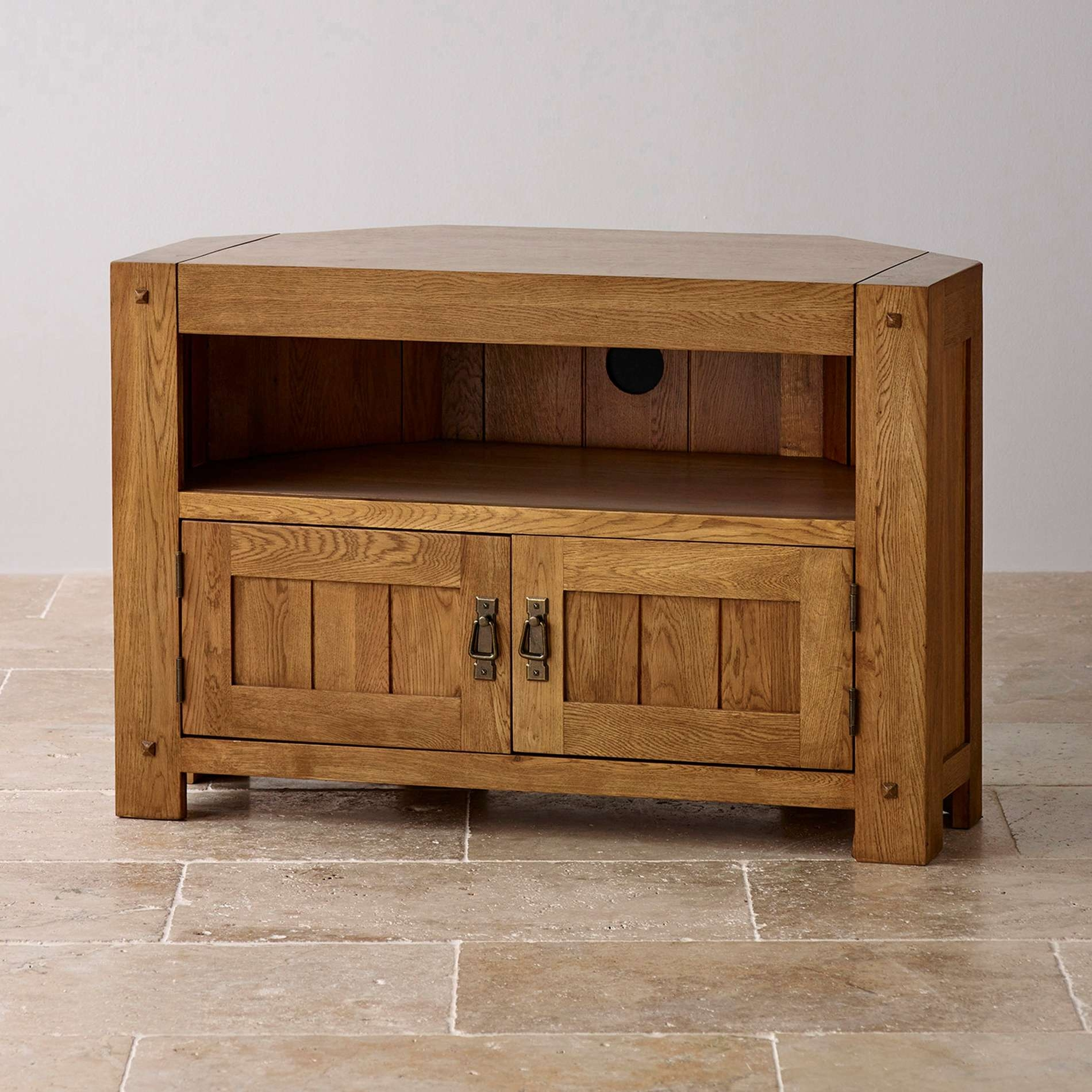 Corner Oak Tv Cabinets For Flat Screens With Doors Throughout Oak Tv Cabinets For Flat Screens (View 8 of 20)