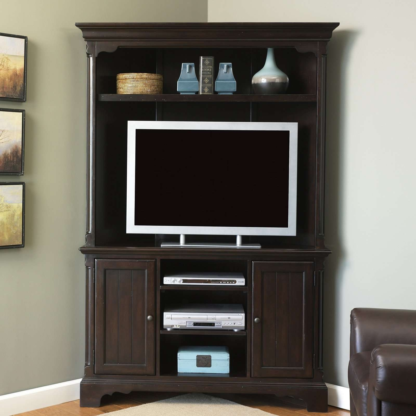 Corner Tv Armoire For Flat Screens Tall Cabinet With Doors Shelves Pertaining To Dark Brown Corner Tv Stands (View 16 of 20)
