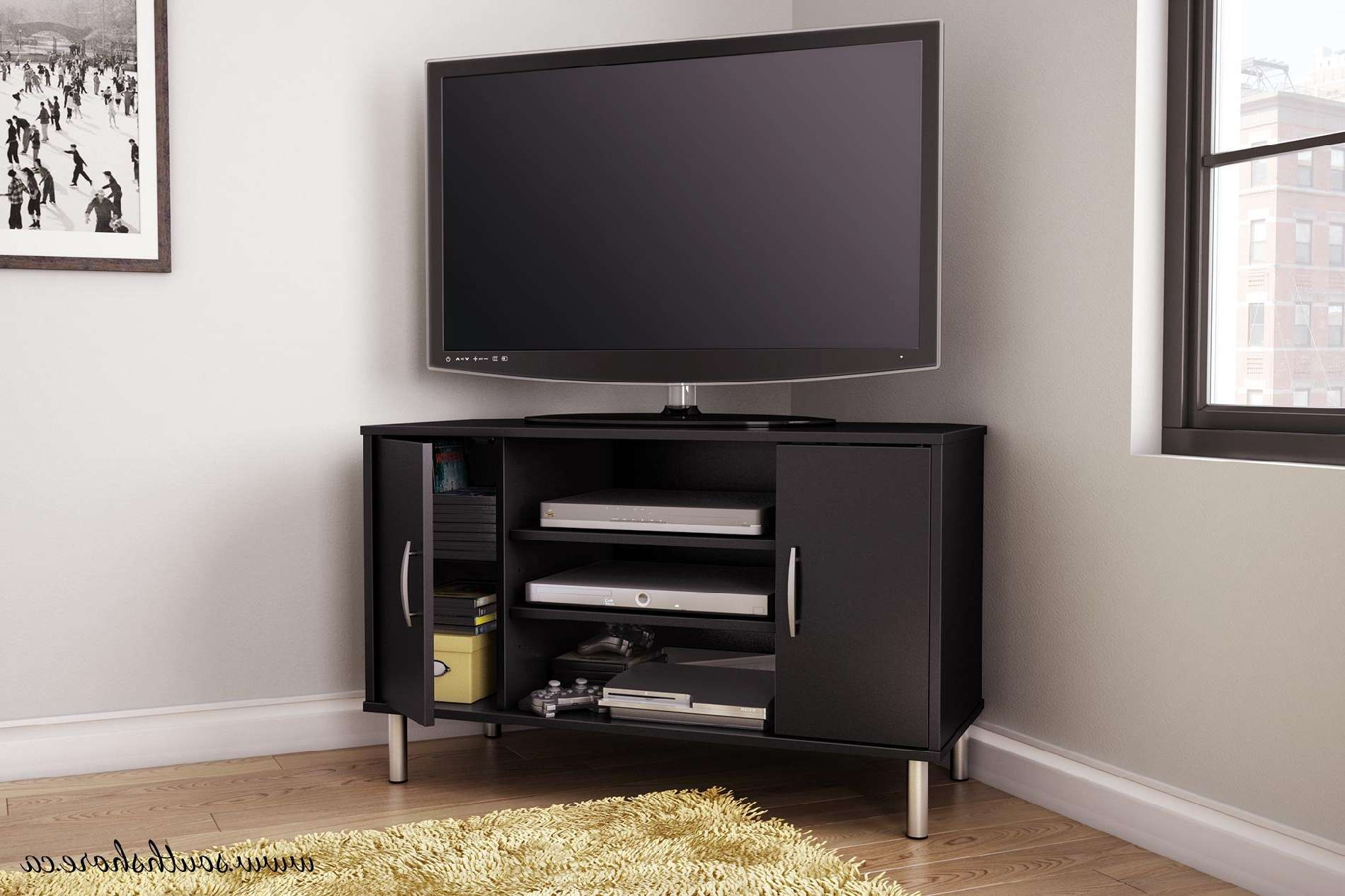 Corner Tv Stand Black | Home Design Ideas With Regard To Tv Stands For Corners (View 4 of 20)