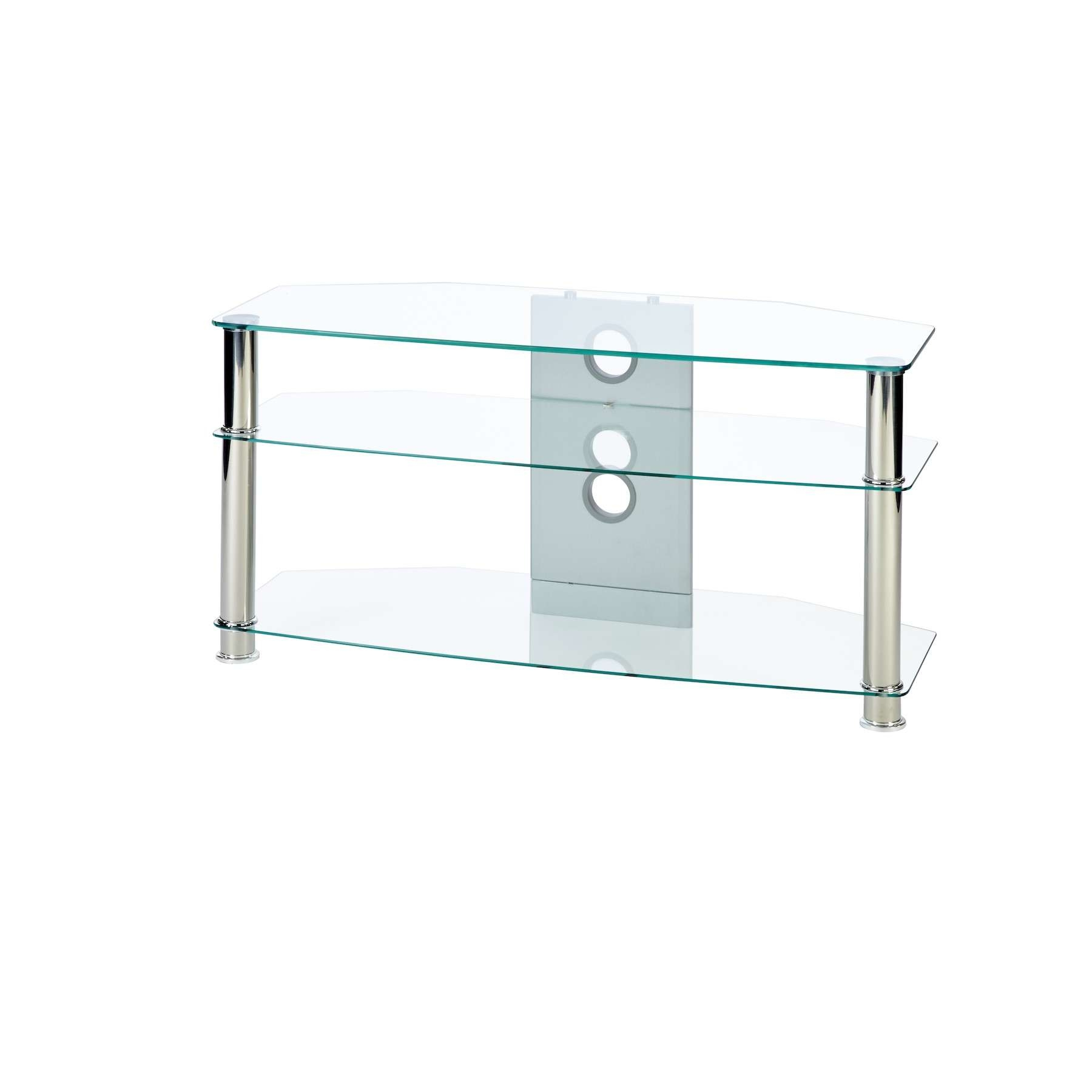 Corner Tv Stand In Clear Glass Up To 42 Inch Tv | Mmt Cl1000 Intended For Glass Tv Stands (View 7 of 15)