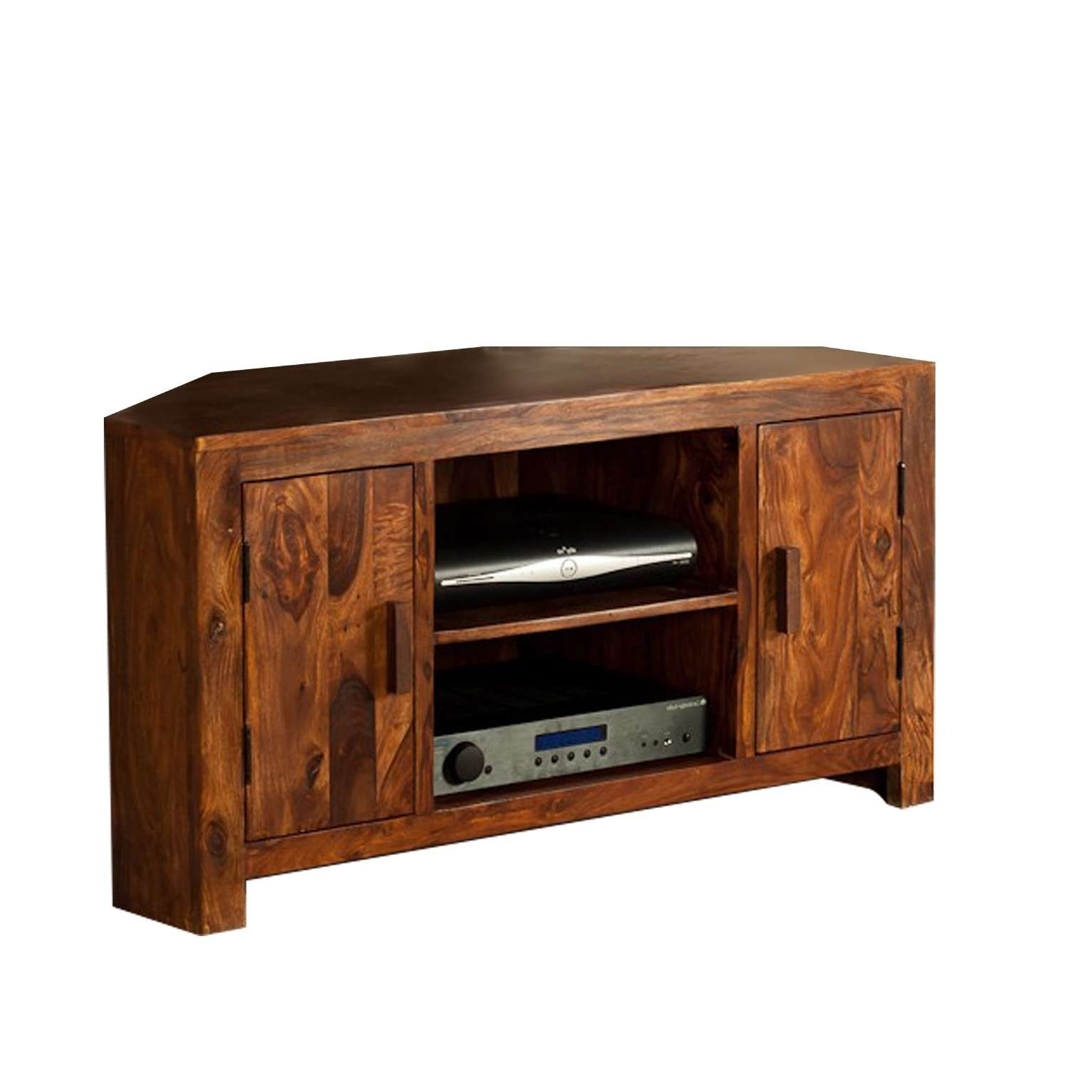 Corner Tv Stand In Sheesham Wood | The Yellow Door Store With Regard To Sheesham Wood Tv Stands (View 2 of 15)