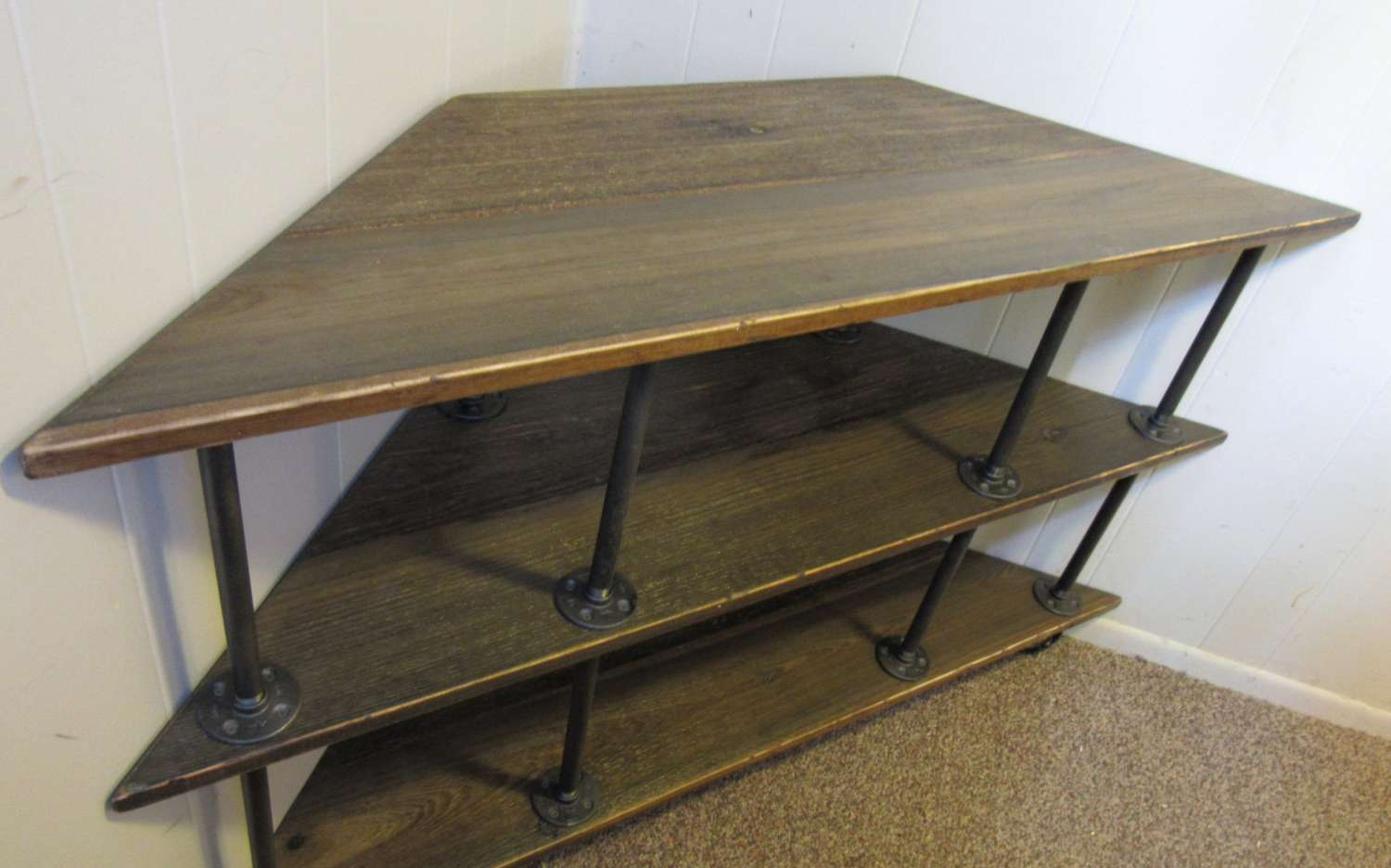 Corner Tv Stand, Industrial, Iron And Wood, For 46 To 52 Tvs Pertaining To Industrial Corner Tv Stands (View 7 of 15)