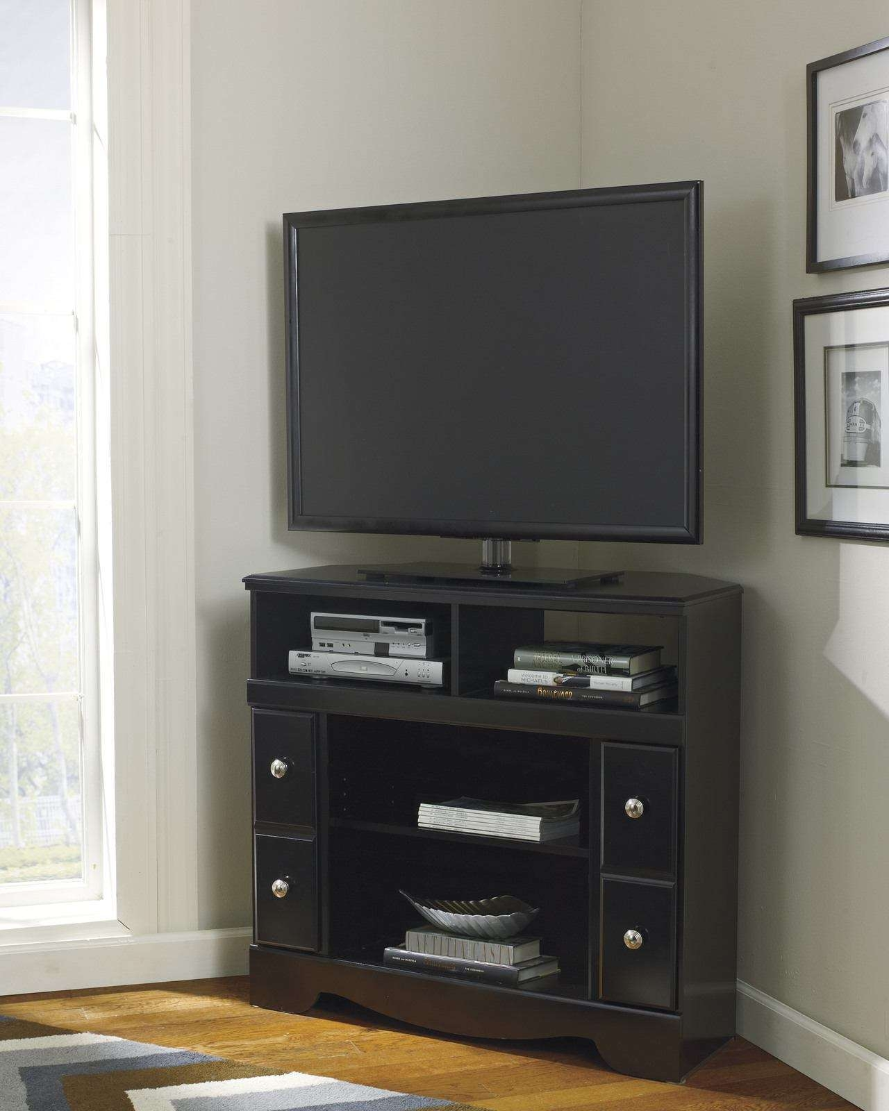 Corner Tv Stand With Fireplace Option In Black W271 12 In Cornet Tv Stands (View 3 of 15)