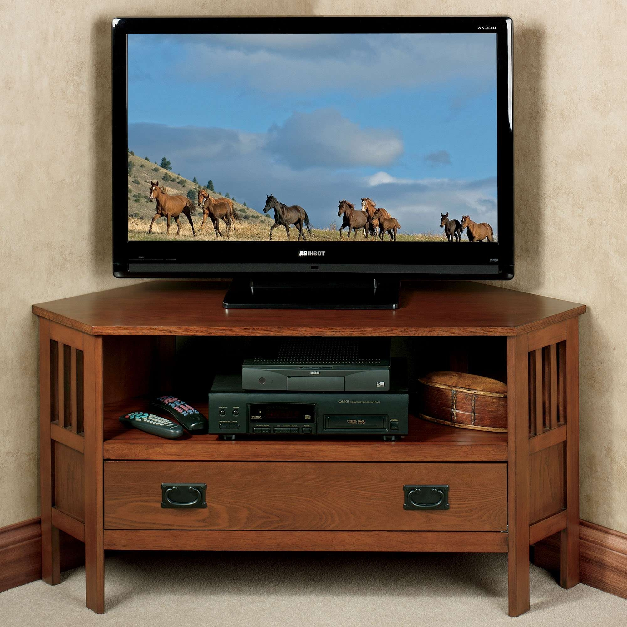 Featured Photo of Oak Corner Tv Stands For Flat Screens